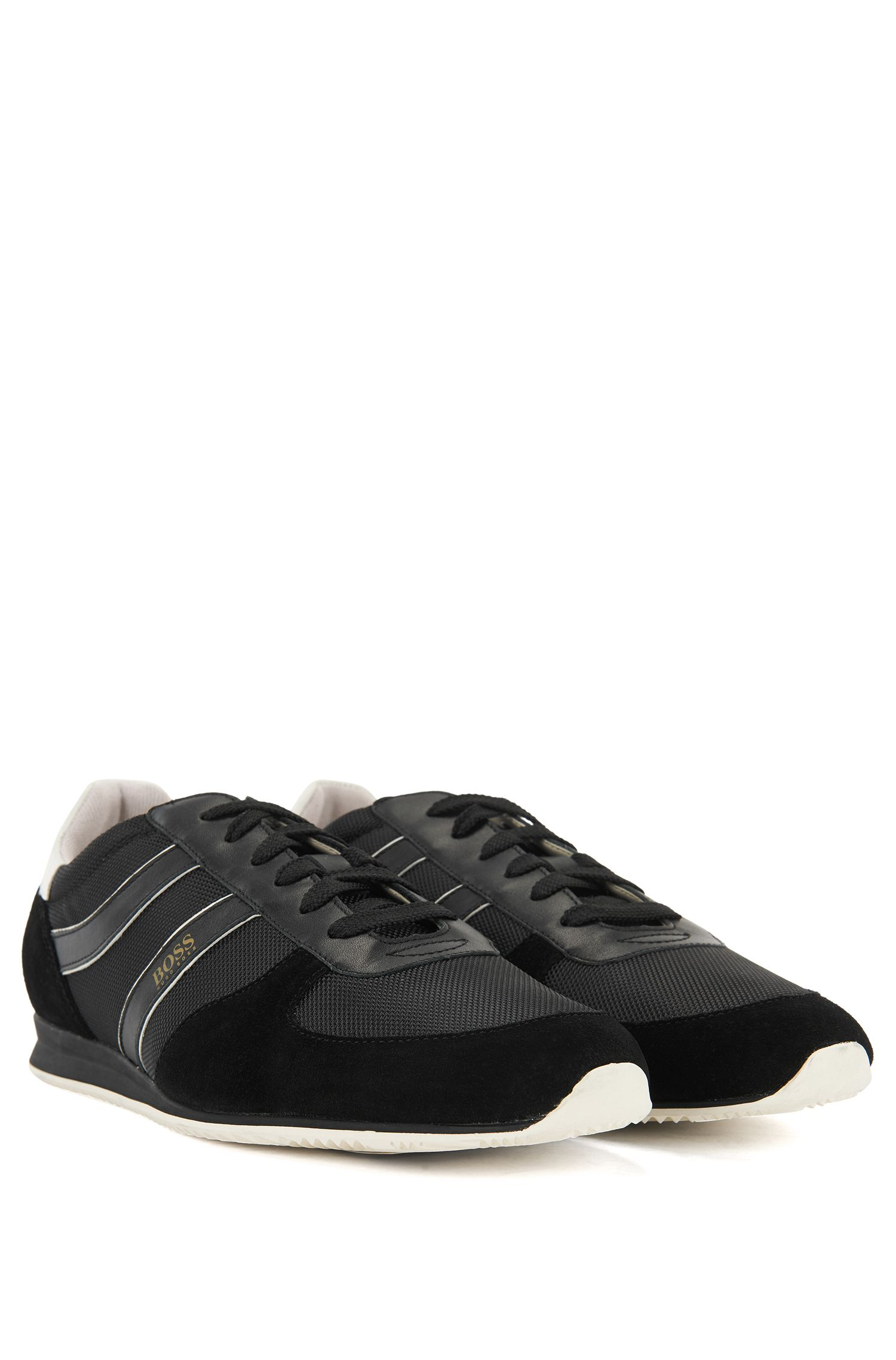 Lace-up low-profile trainers with suede panels