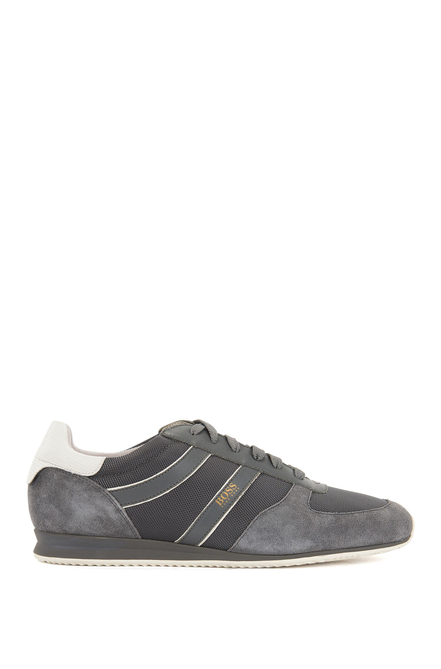 Lace-up low-profile trainers with suede panels, Grey