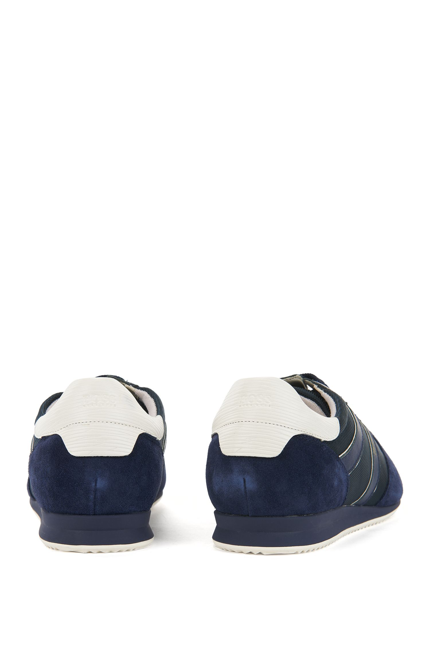 Lace-up low-profile trainers with suede panels, Dark Blue