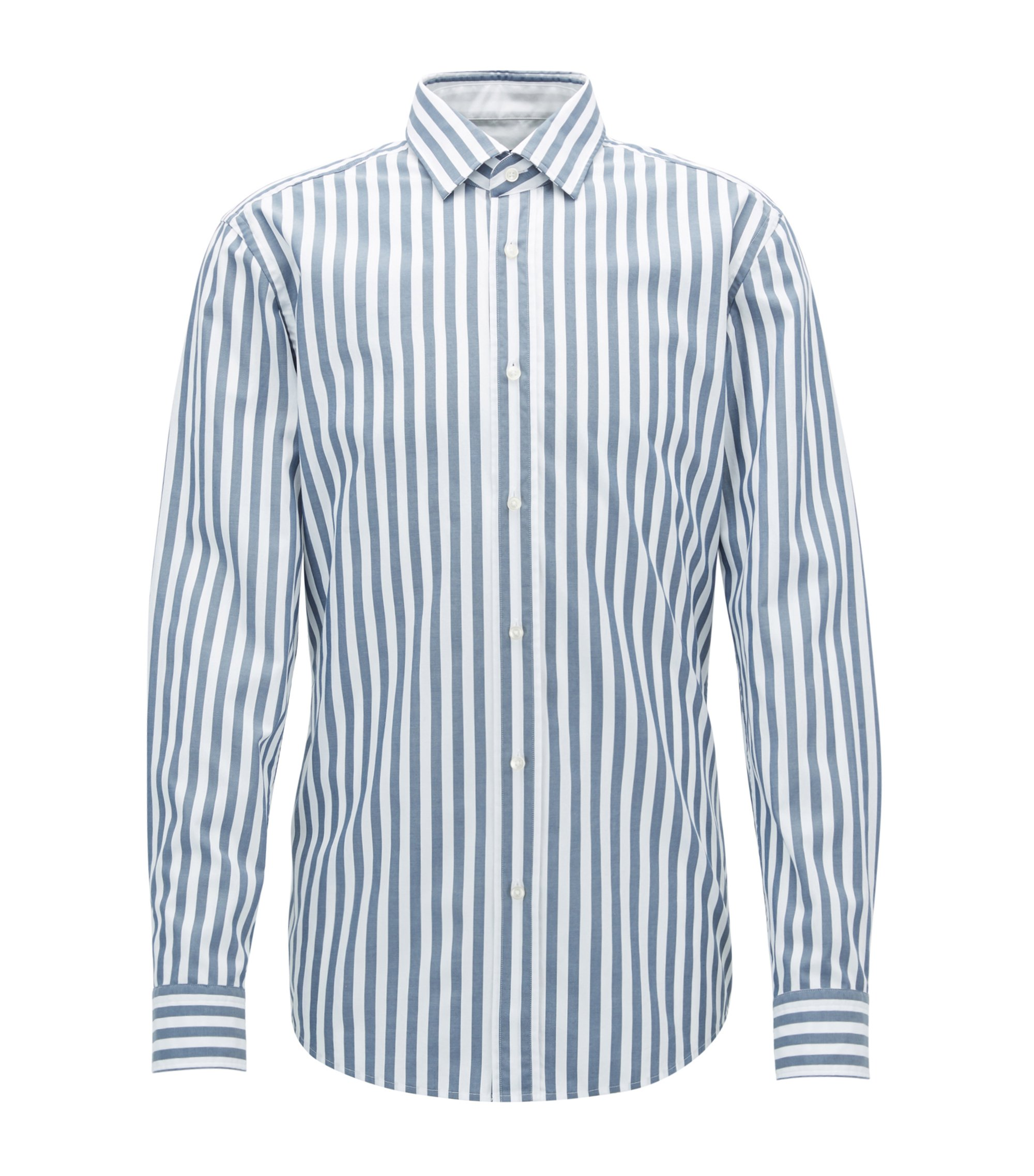 Slim-fit striped shirt in washed cotton, Blue