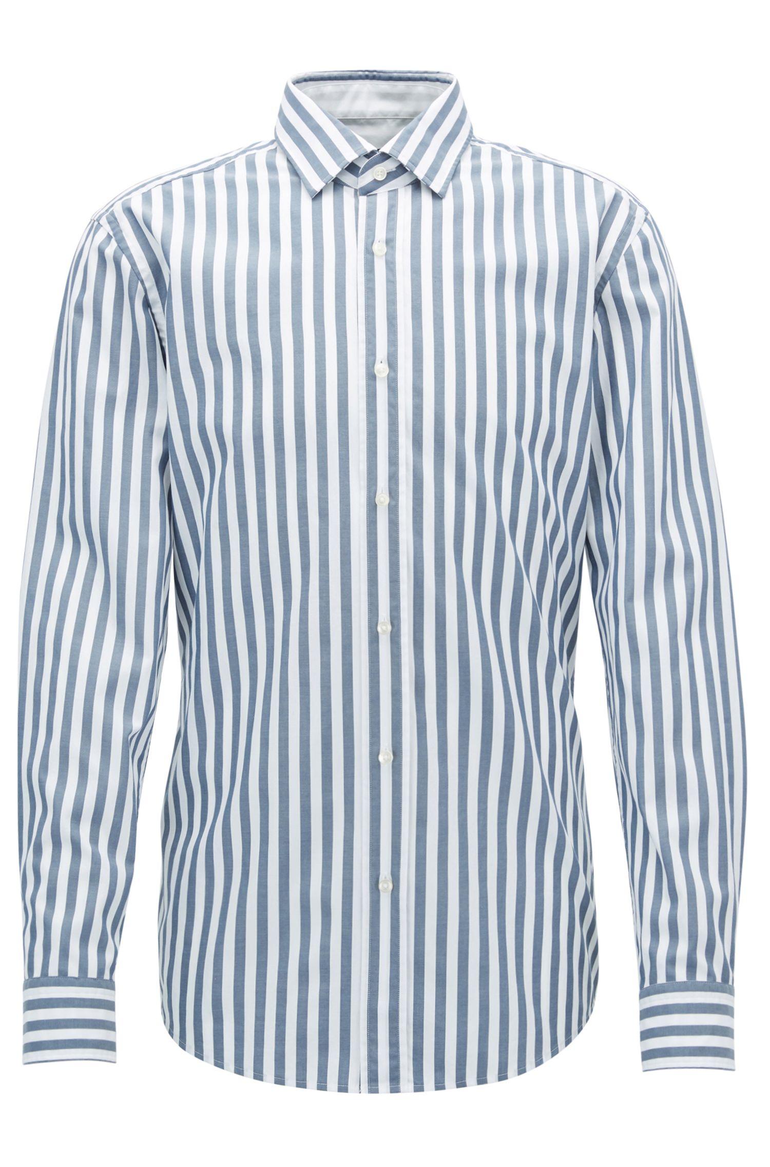 Gestreiftes Slim-Fit Hemd aus gewaschener Baumwolle