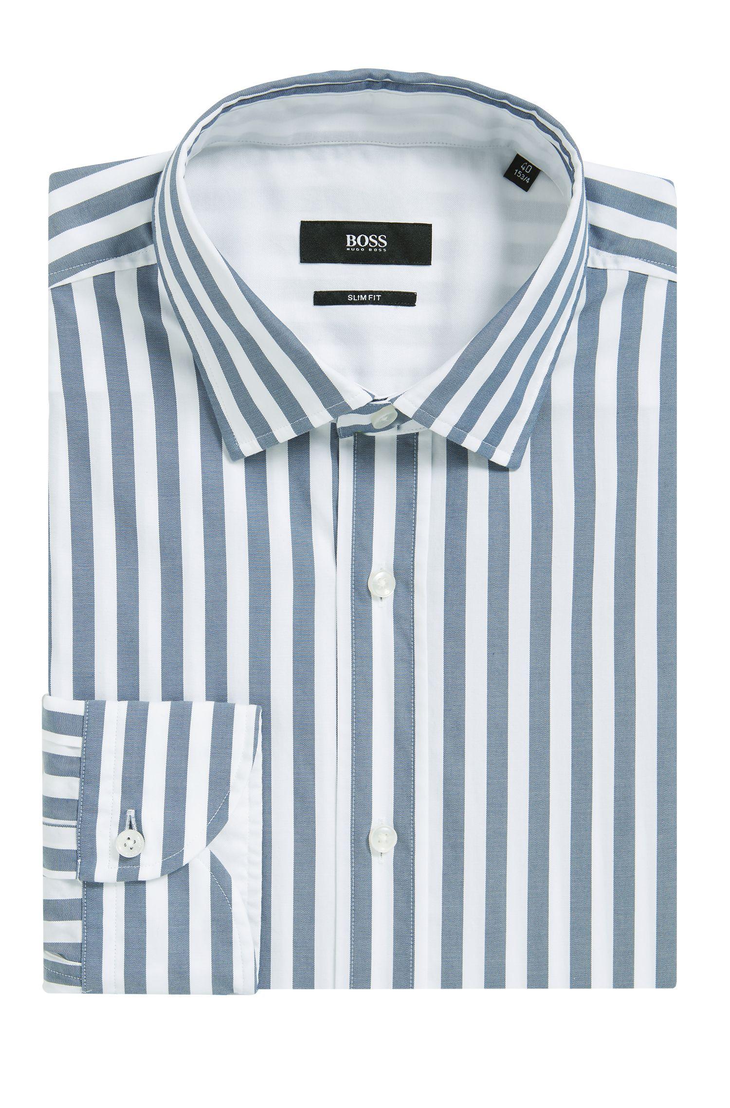 Camisa slim fit en algodón lavado a rayas