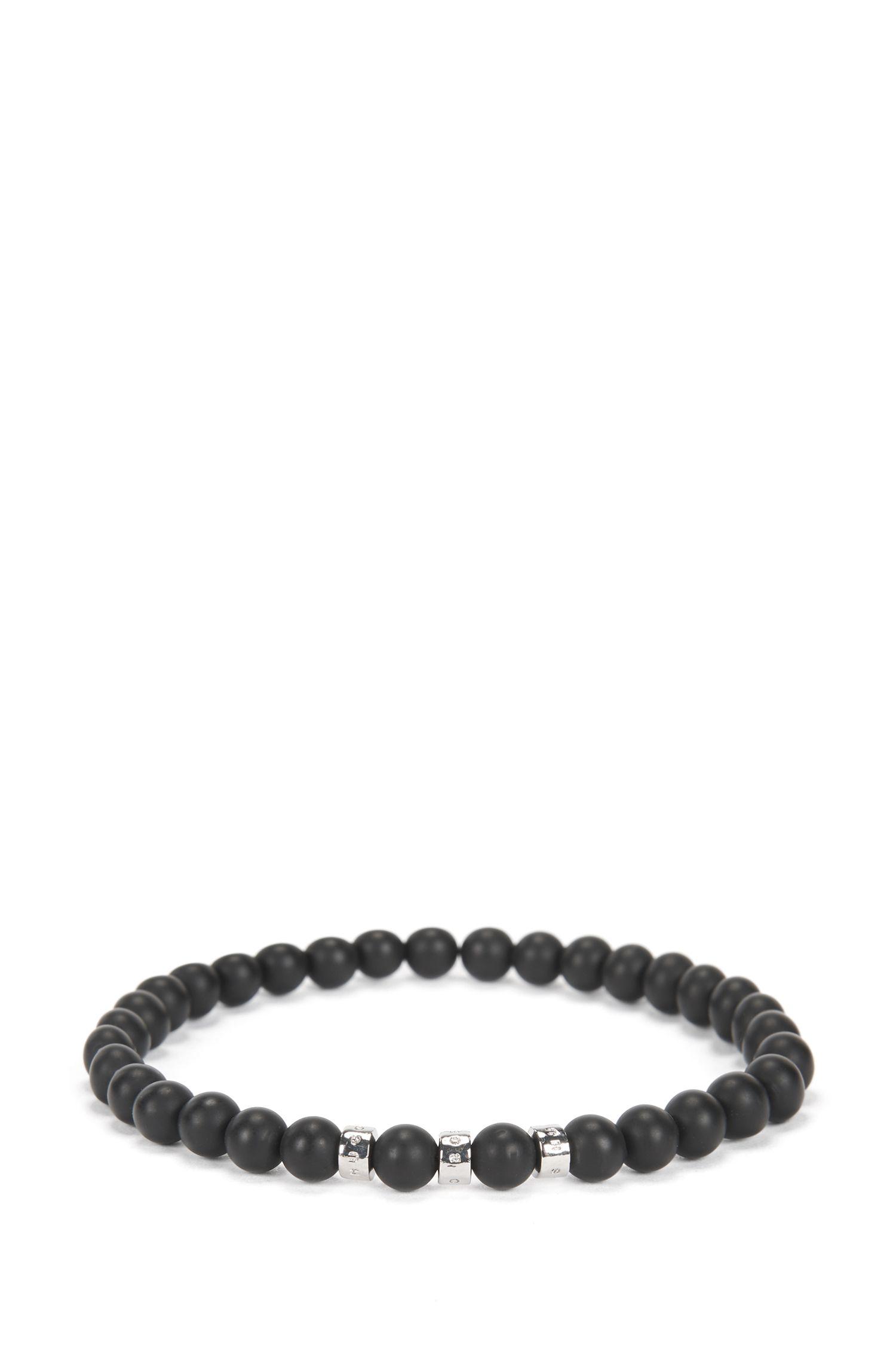 Agate-stone bracelet with metal logo beads