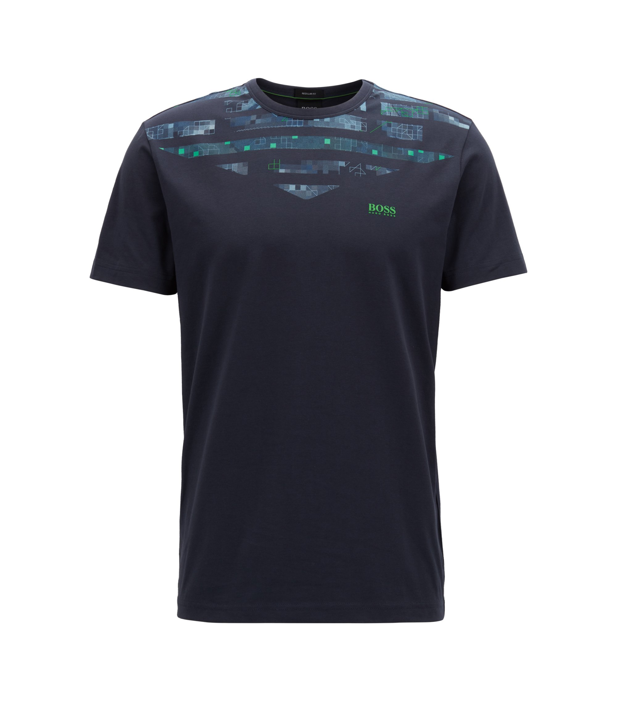 Stretch-cotton T-shirt with seasonal artwork, Dark Blue