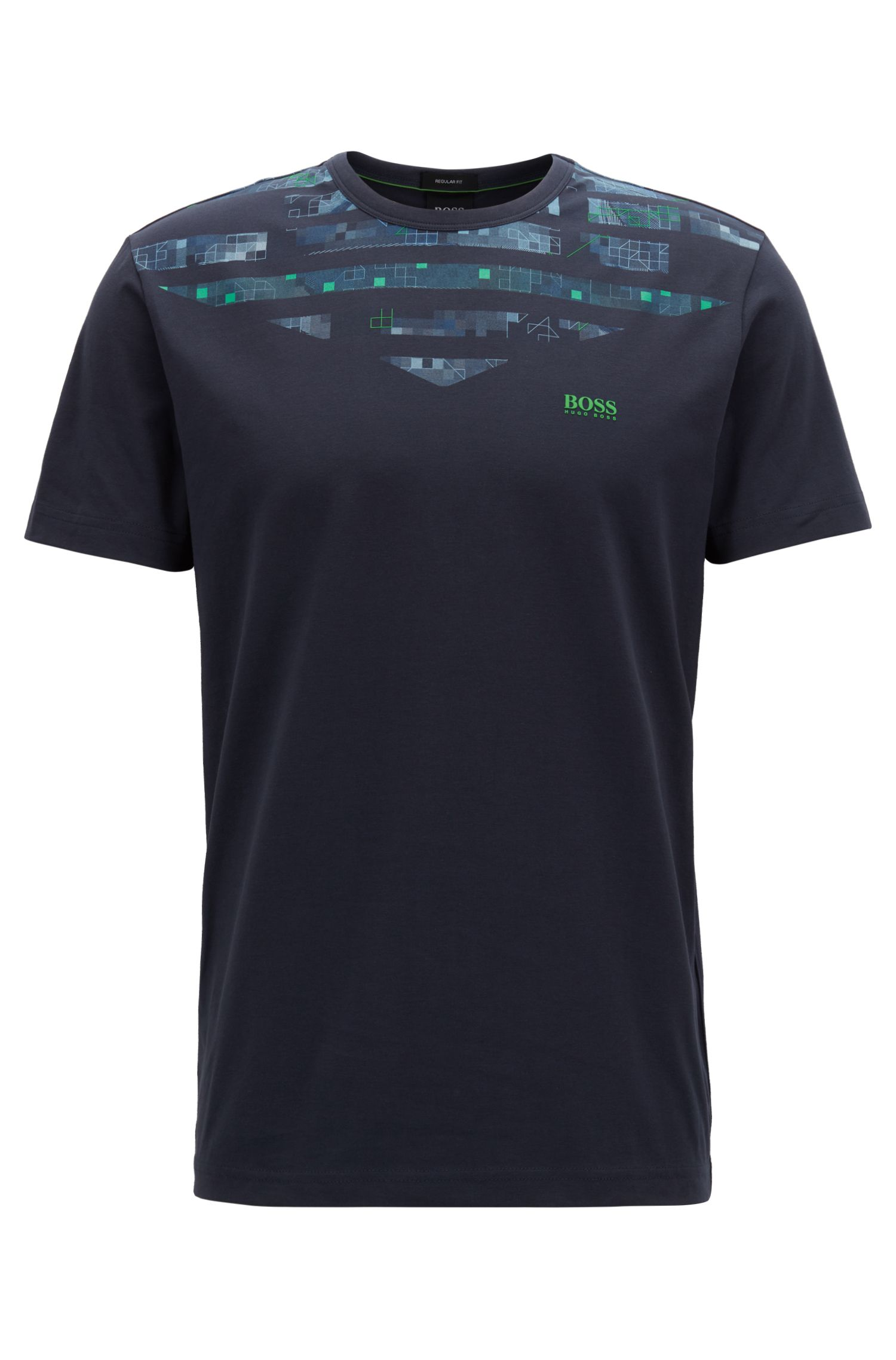 T-shirt van stretchkatoen met kunstzinnig seizoensthema