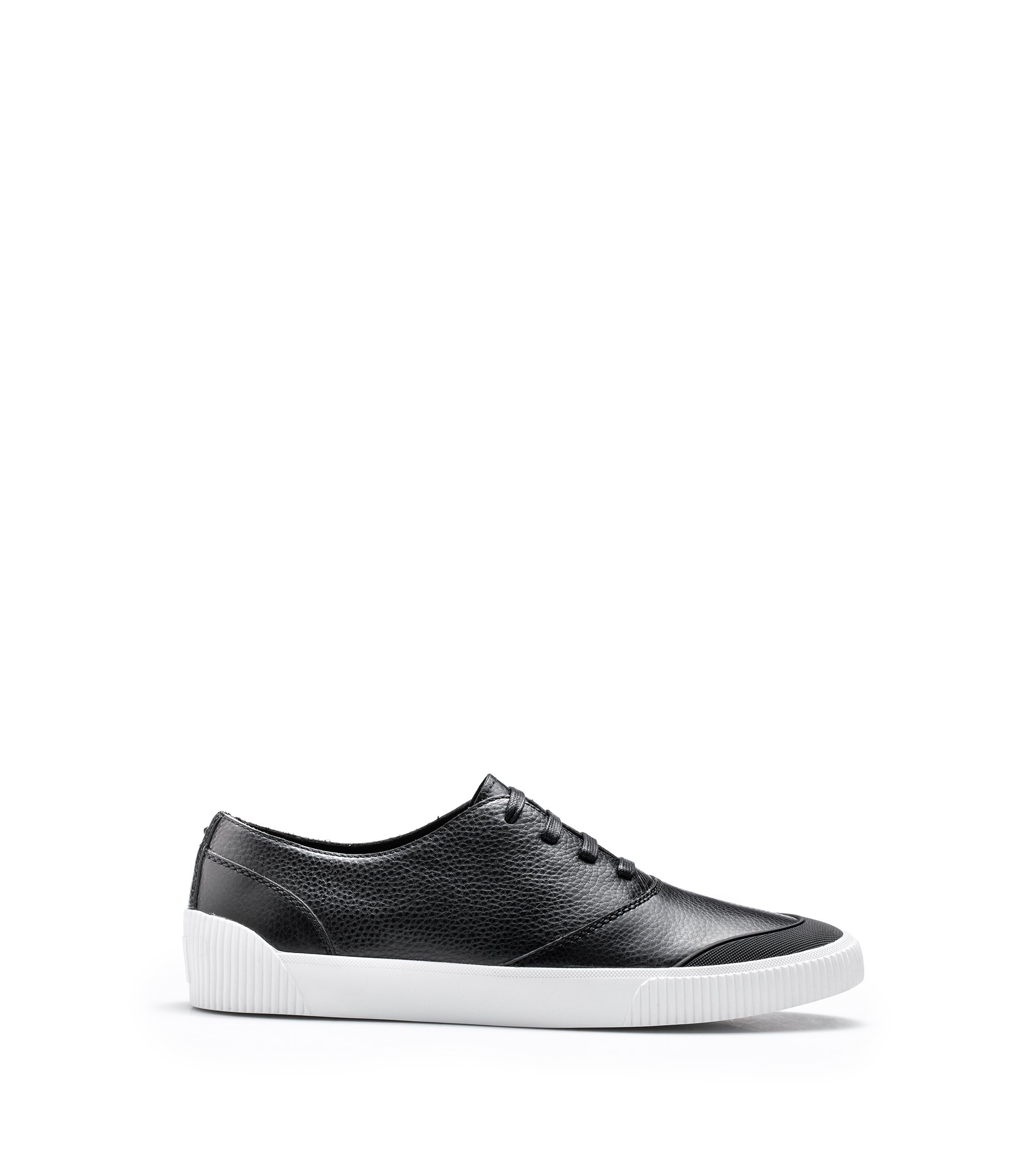 Low-top tennis-style trainers in tumbled calf leather, Black