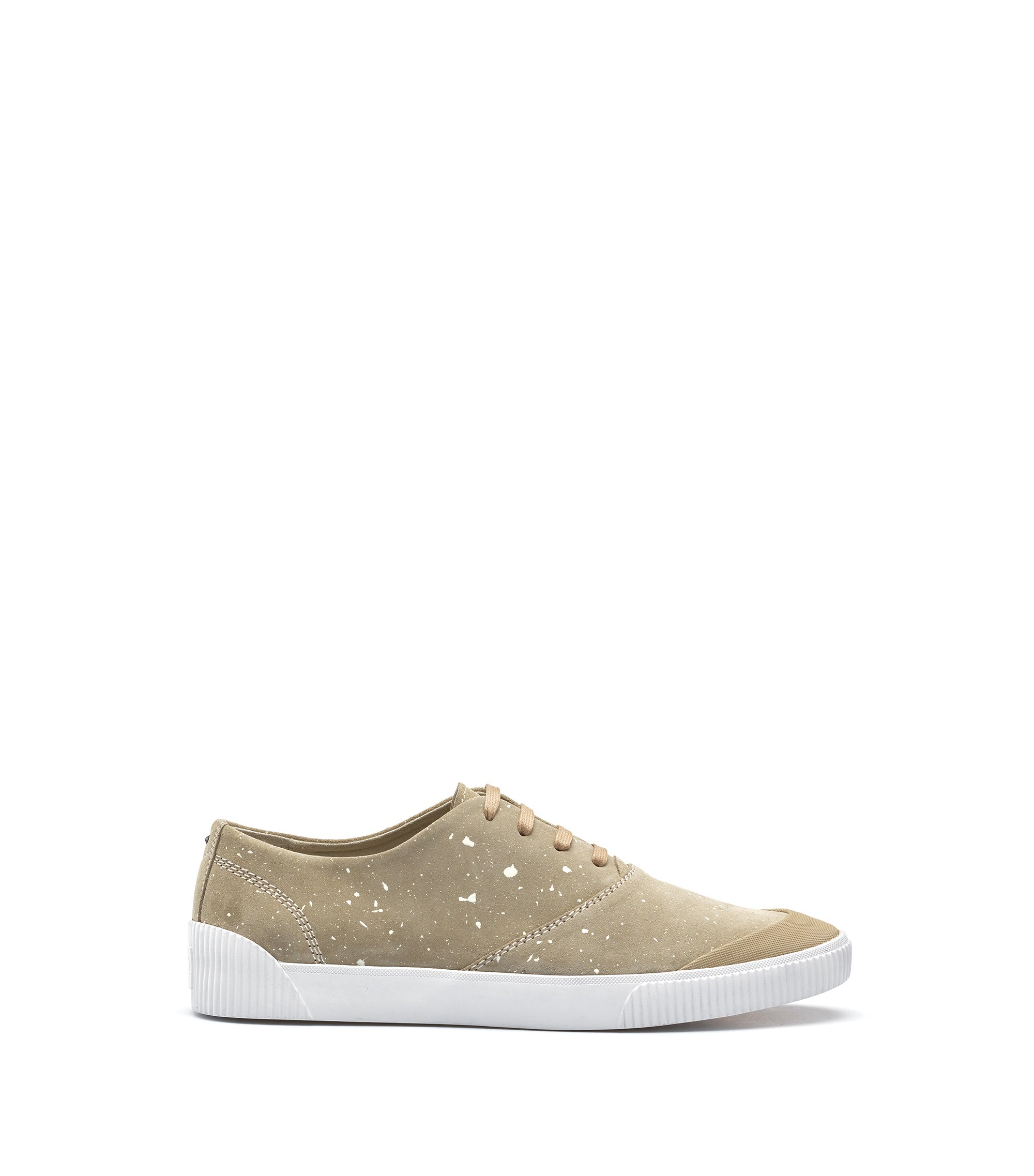 Paint-spatter trainers in suede, Beige