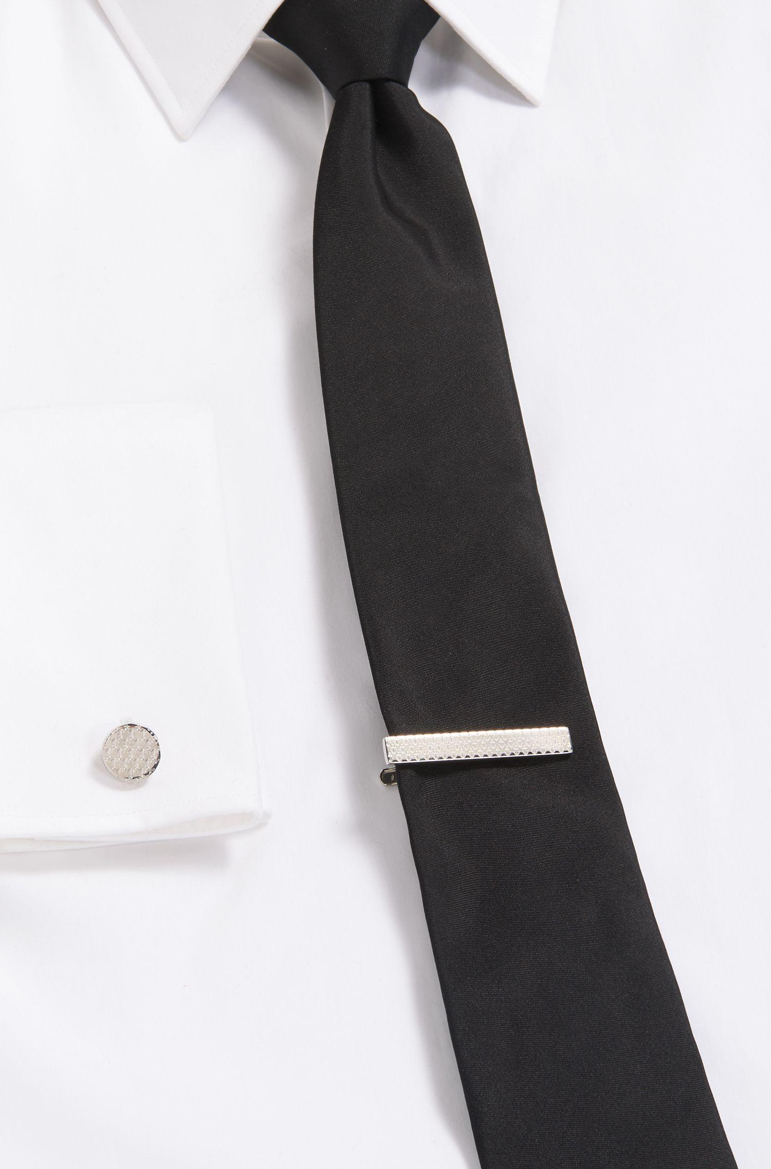 Spillo da cravatta lucidato a mano con ancore incise