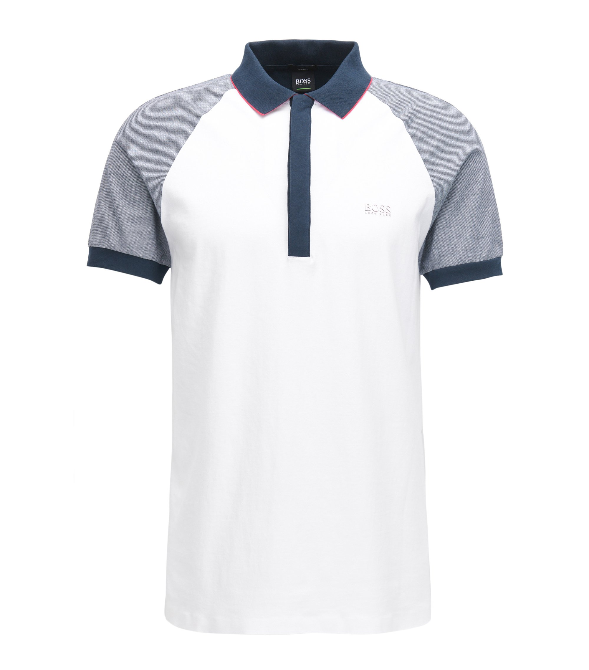 Polo slim fit en punto sencillo sin costuras, Blanco