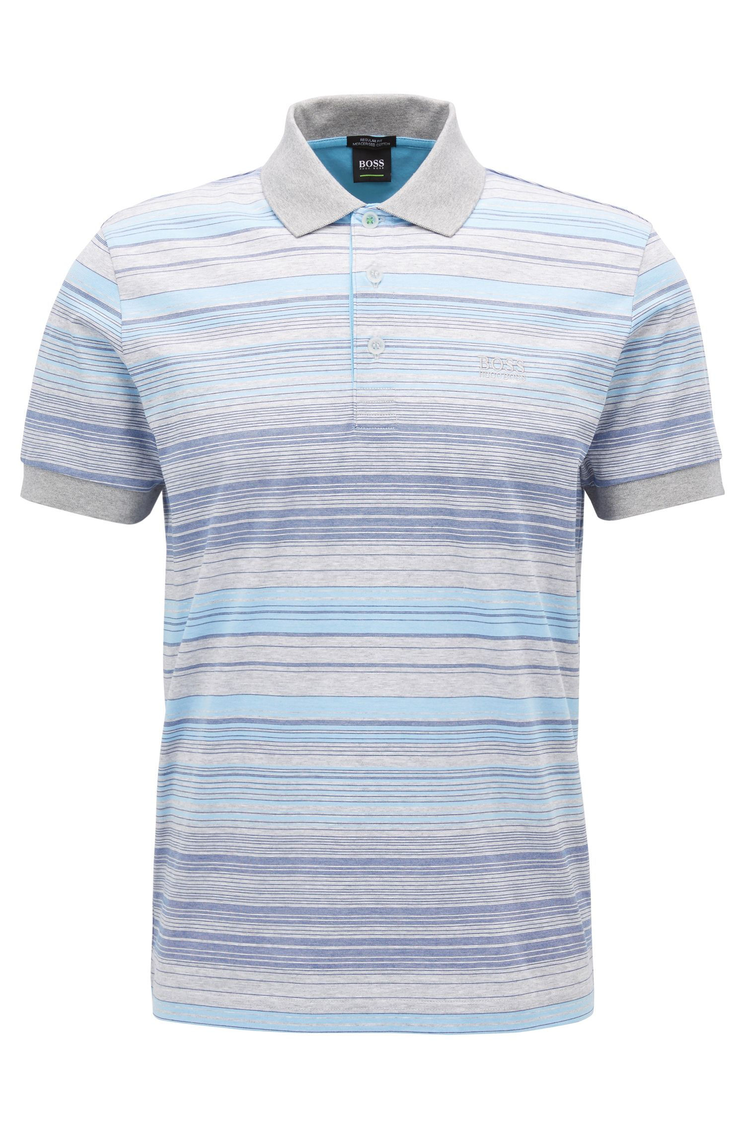 Striped polo shirt in mercerised cotton