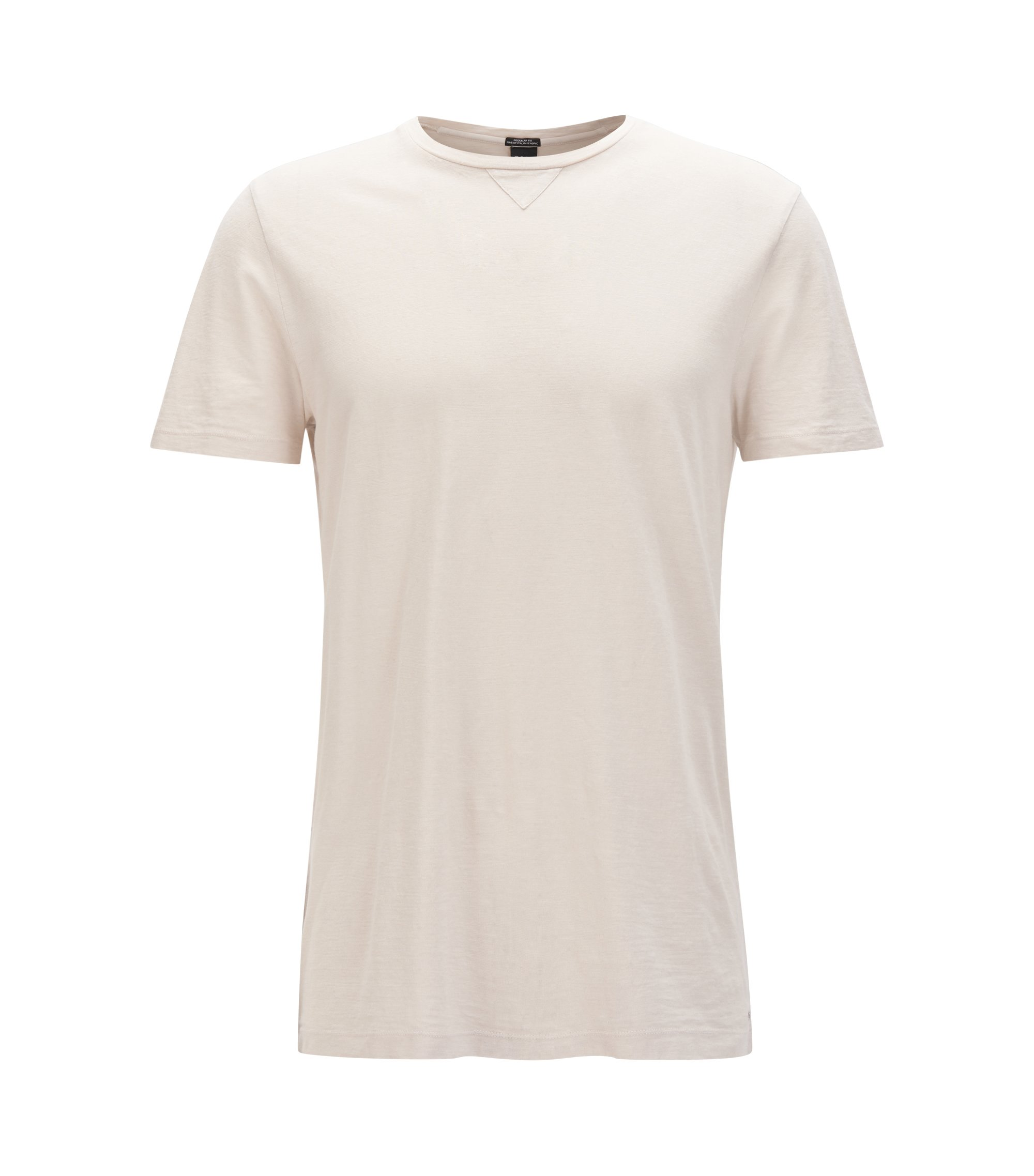 Crew-neck T-shirt in an Italian cotton blend, Natural