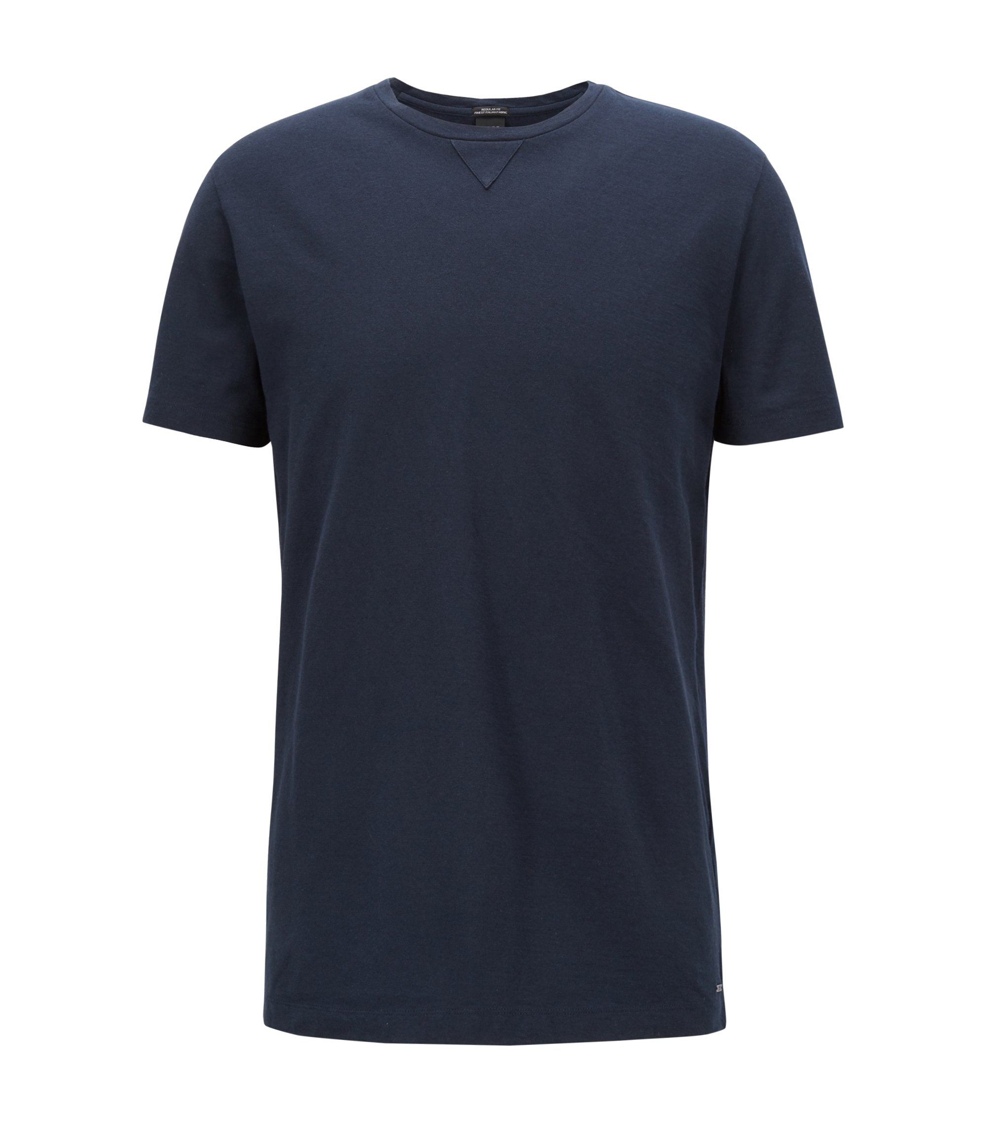 Crew-neck T-shirt in an Italian cotton blend, Dark Blue