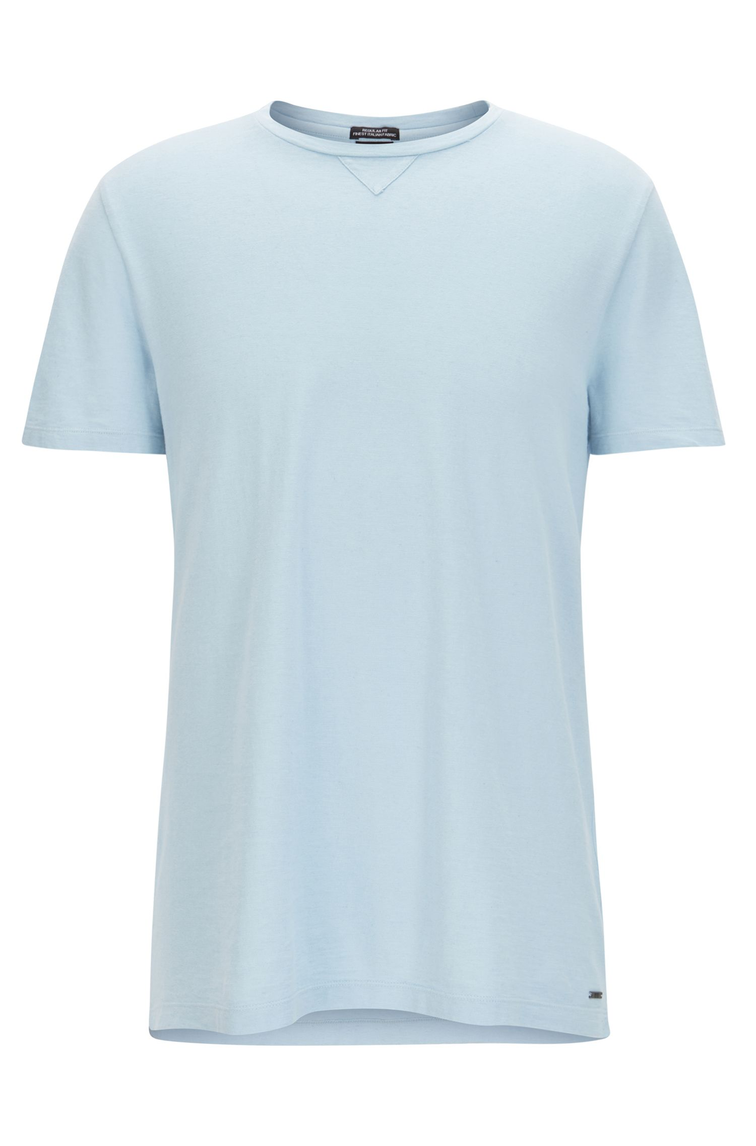 Crew-neck T-shirt in an Italian cotton blend