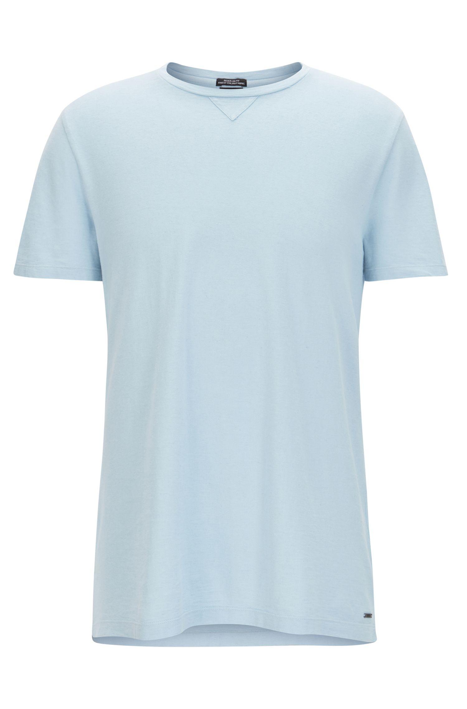 Camiseta de cuello redondo en mezcla de algodón italiano