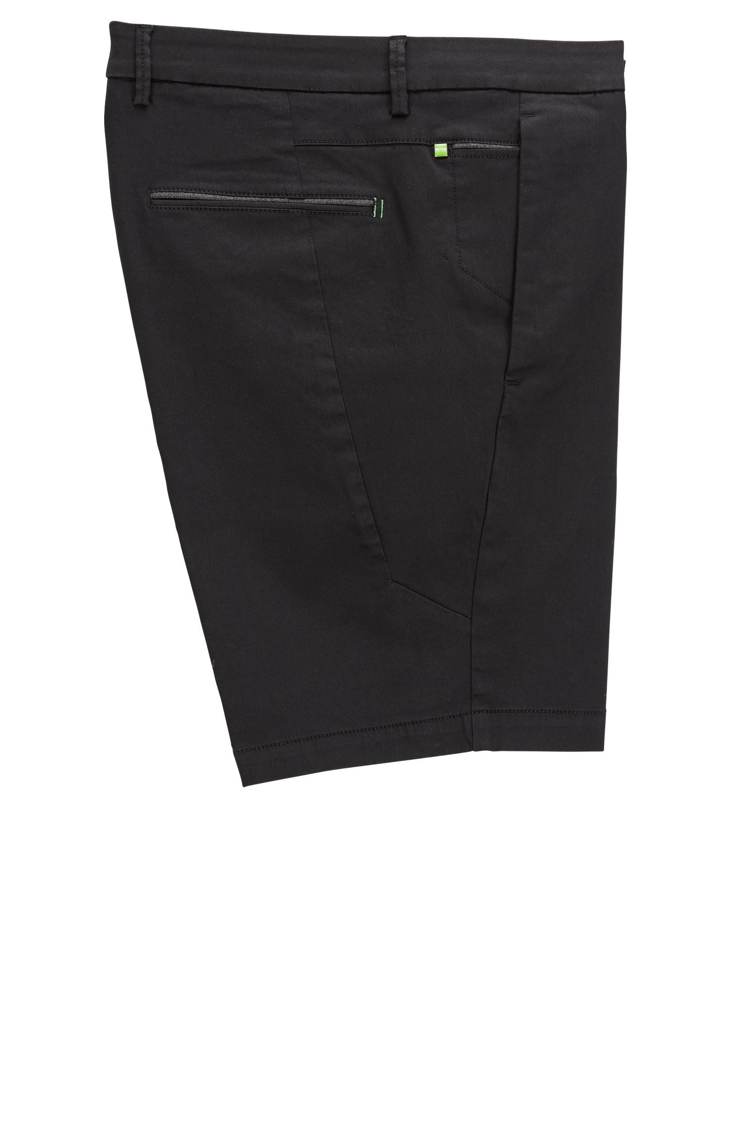 Pantaloncini slim fit in satin elasticizzato, Nero