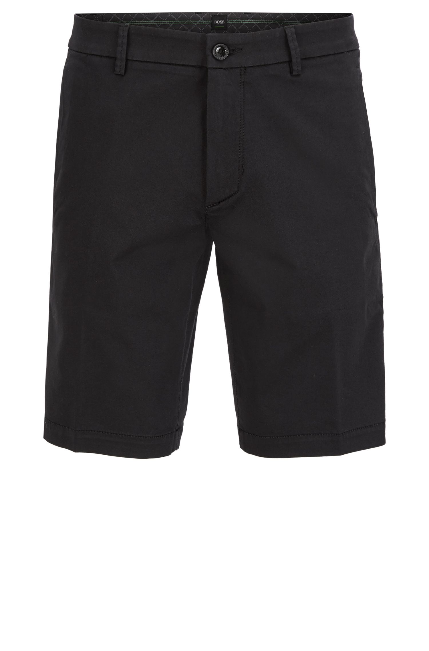 Short Slim Fit en satin stretch, Noir