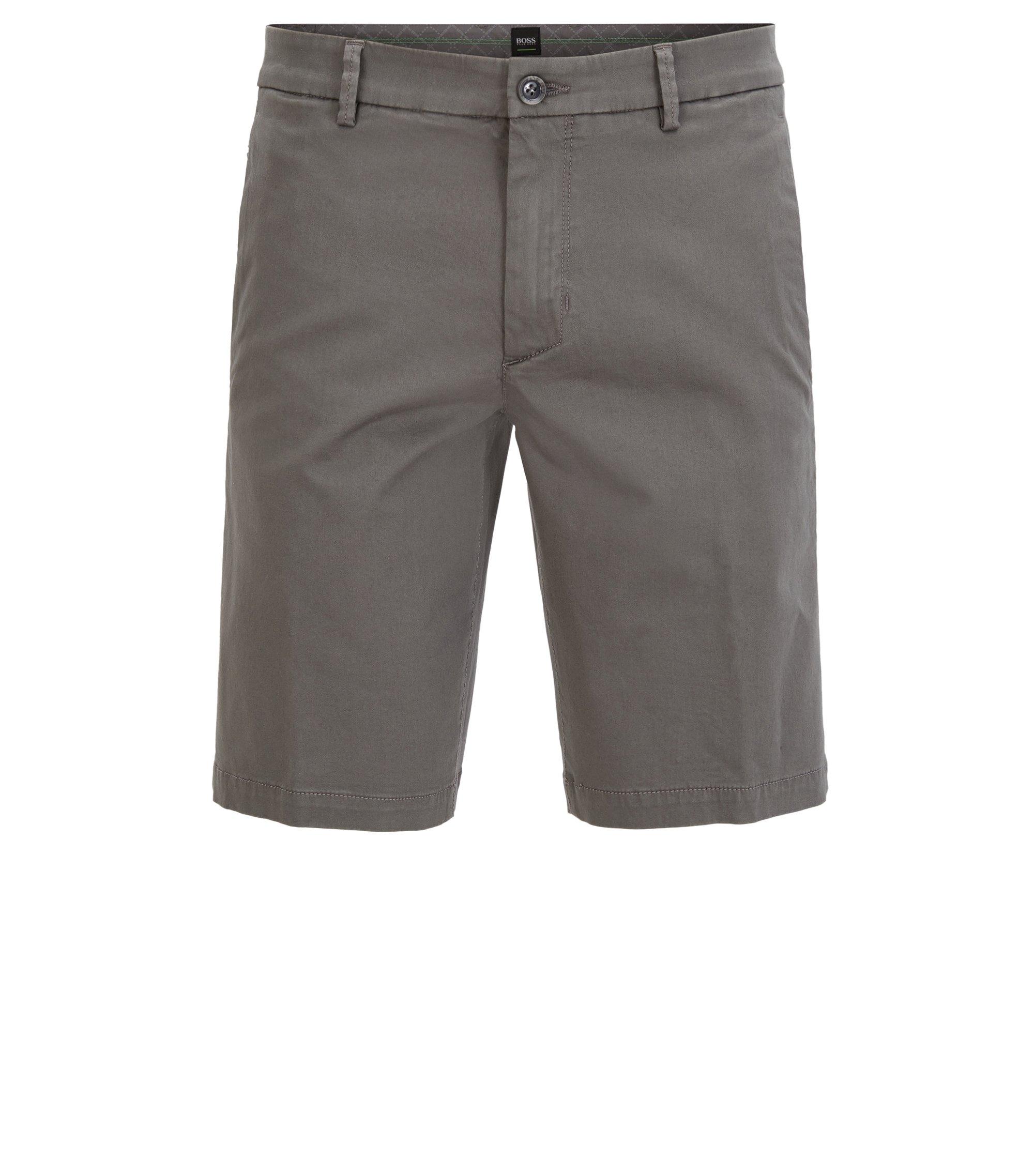 Slim-Fit Shorts aus Stretch-Satin, Grau