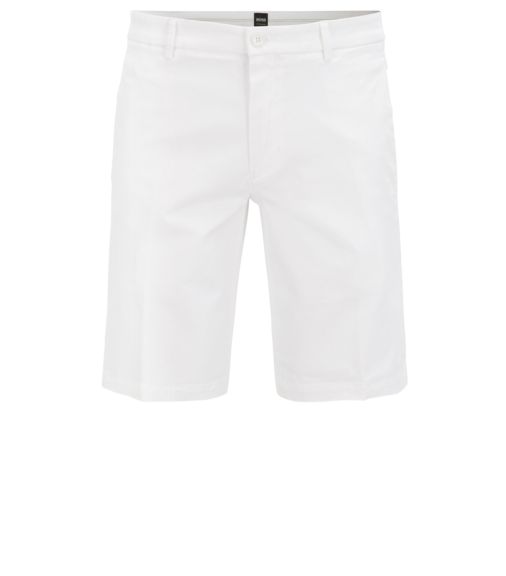 Shorts slim fit en satén elástico, Blanco