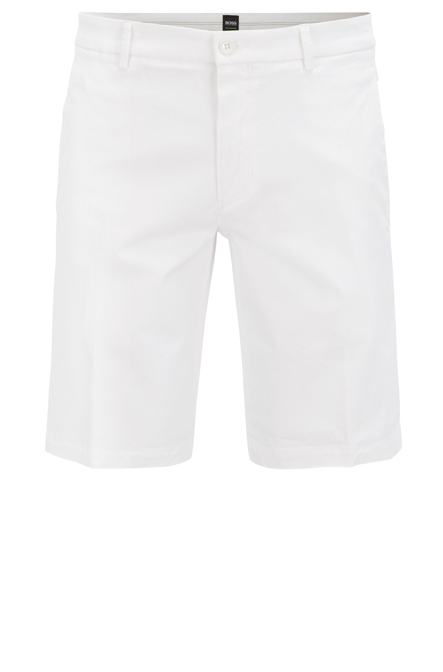 Short Slim Fit en satin stretch, Blanc