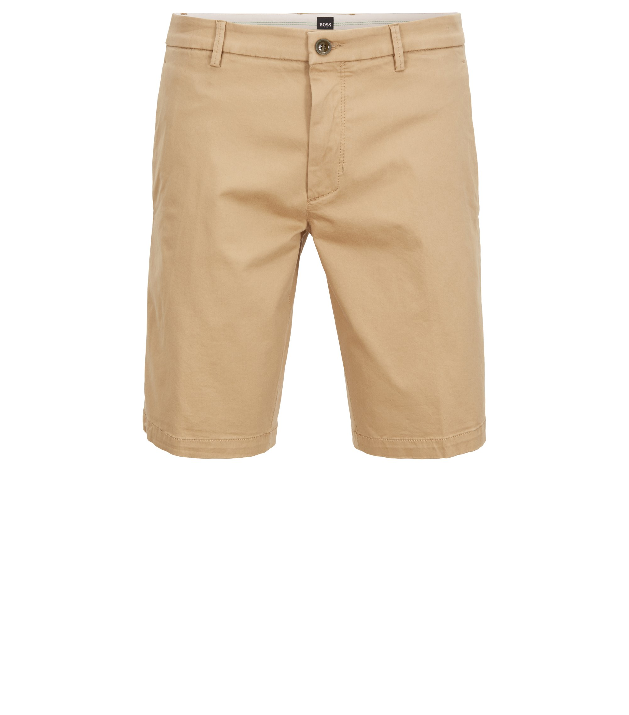Slim-fit short van stretchsatijn, Beige