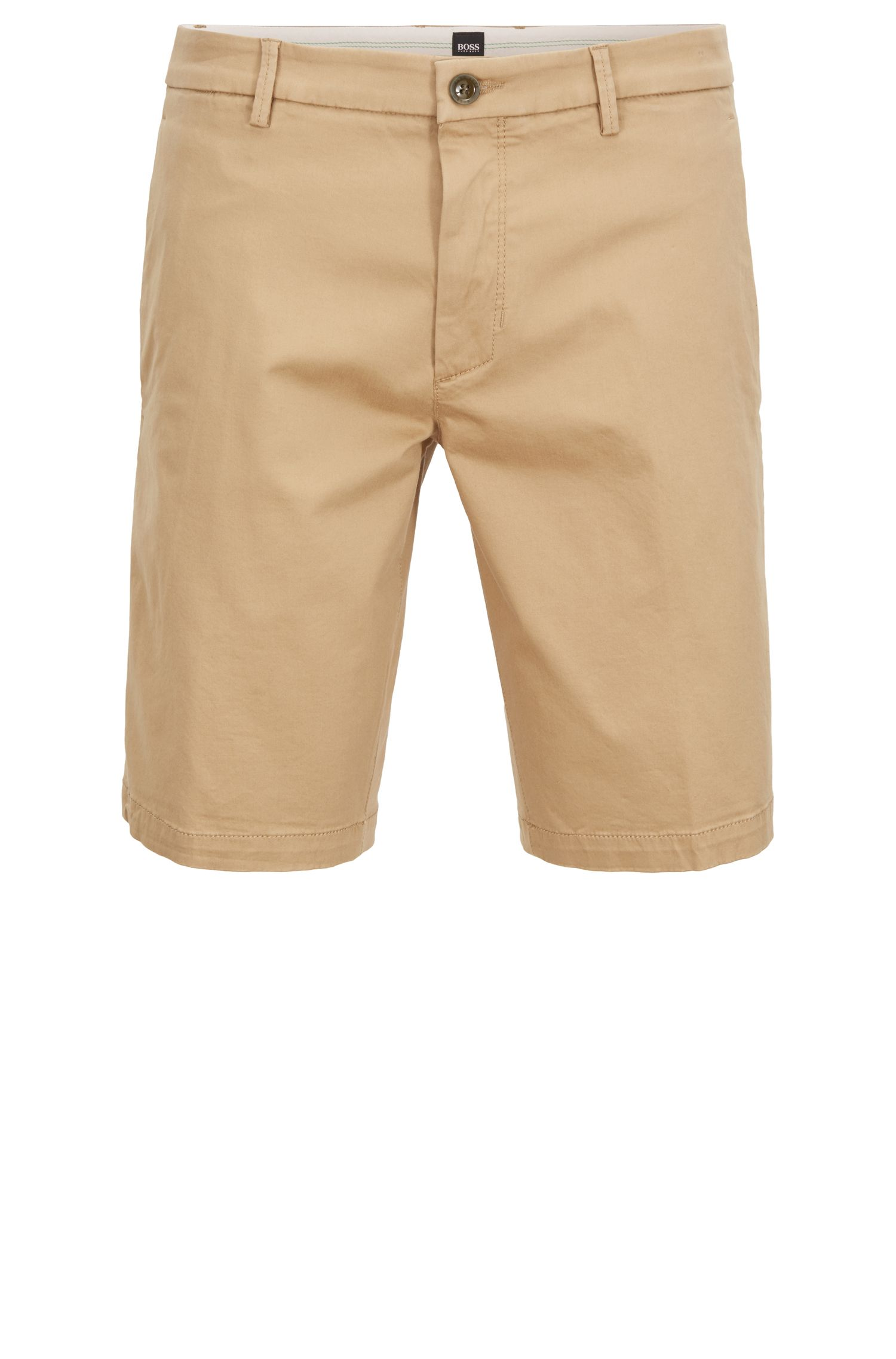 Short Slim Fit en satin stretch, Beige