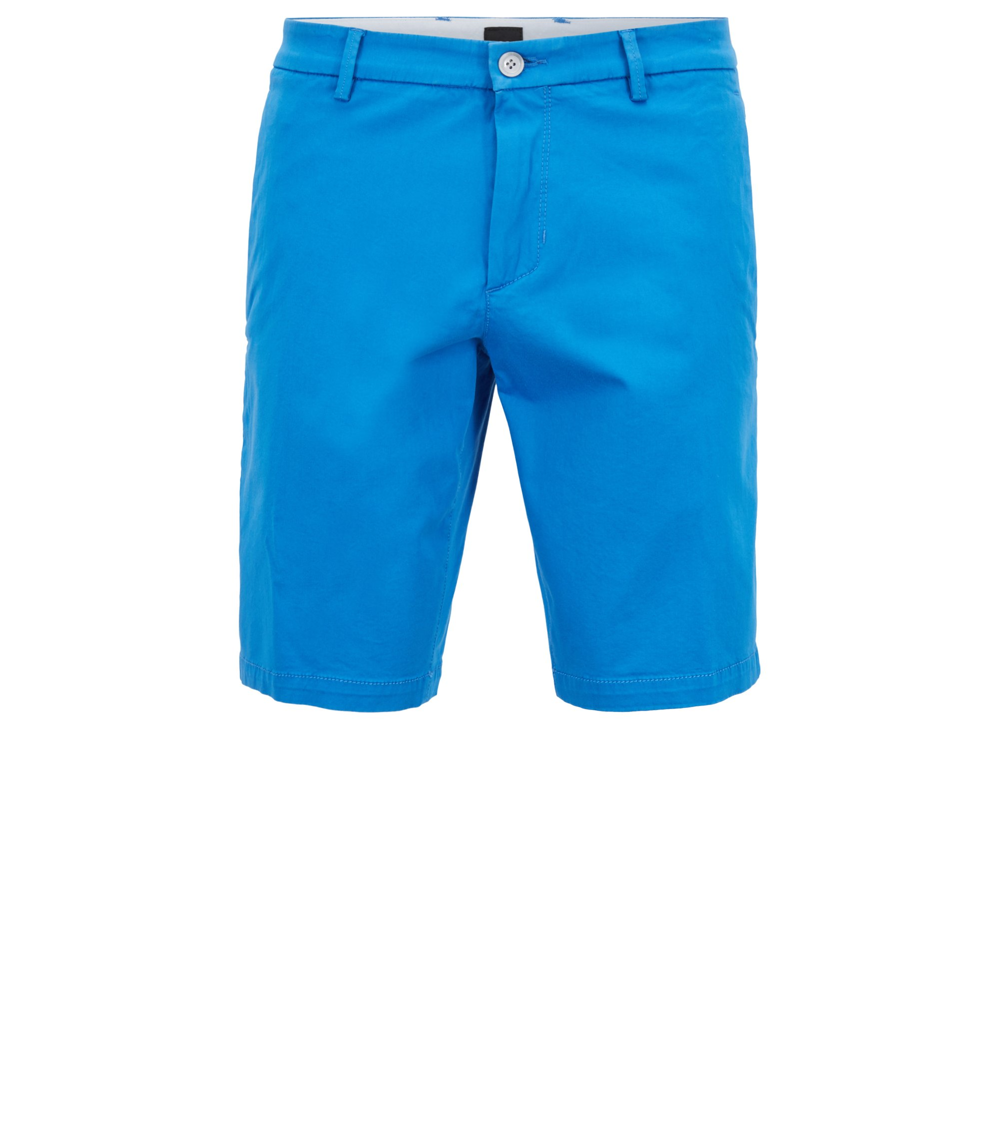 Short Slim Fit en satin stretch, Bleu