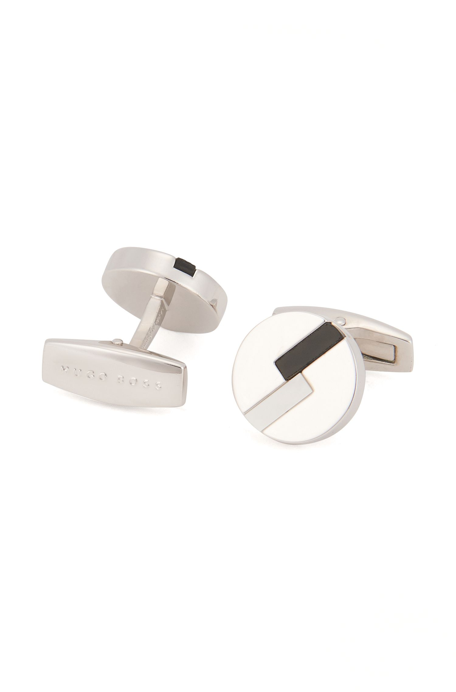 Round cufflinks with mother-of-pearl and onyx accents