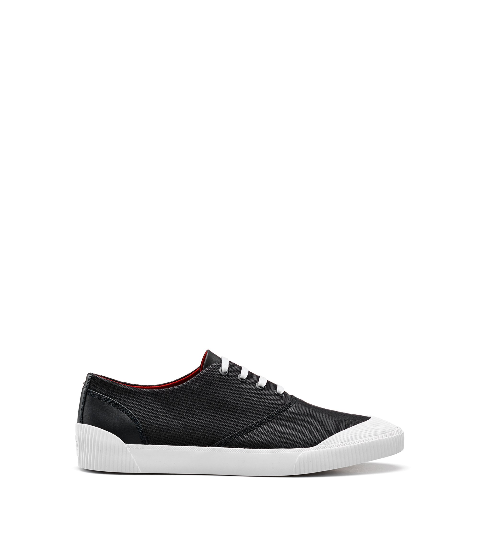 Lace-up tennis shoes in technical fabric, Black