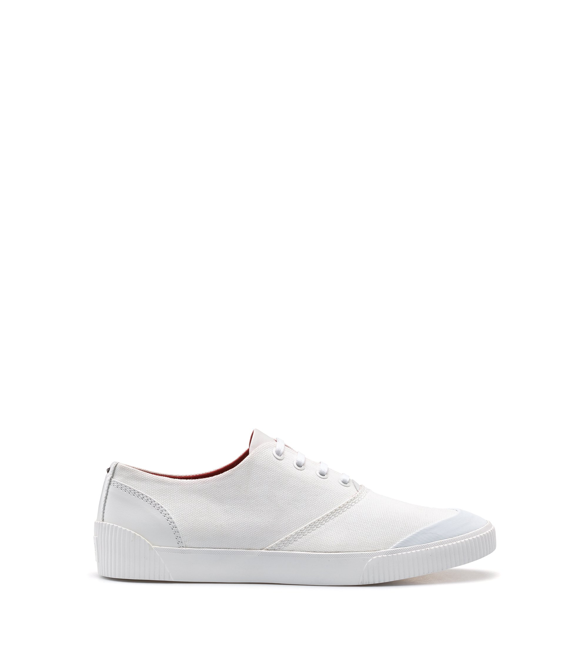 Lace-up tennis shoes in technical fabric, White