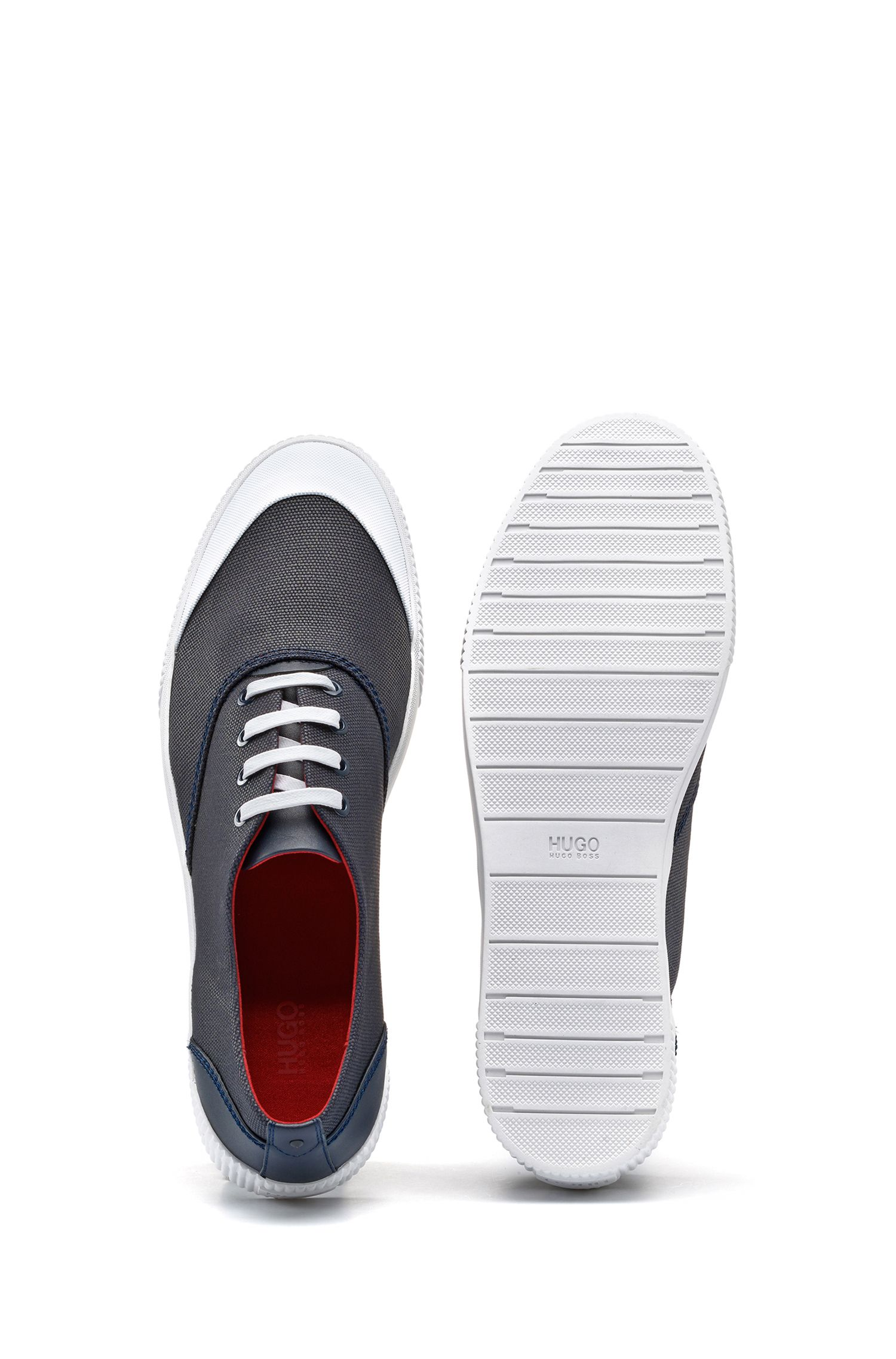 Lace-up tennis shoes in technical fabric