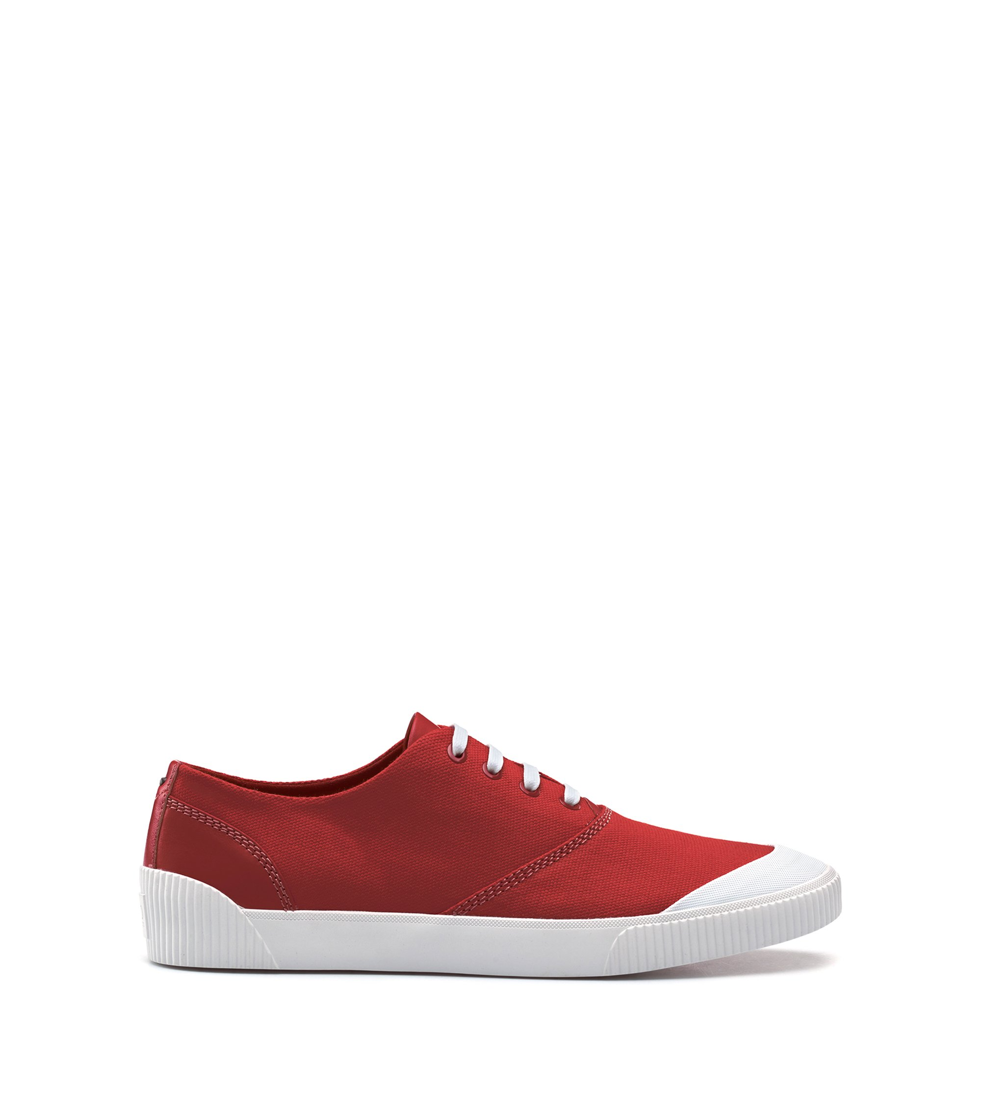 Lace-up tennis shoes in technical fabric, Red