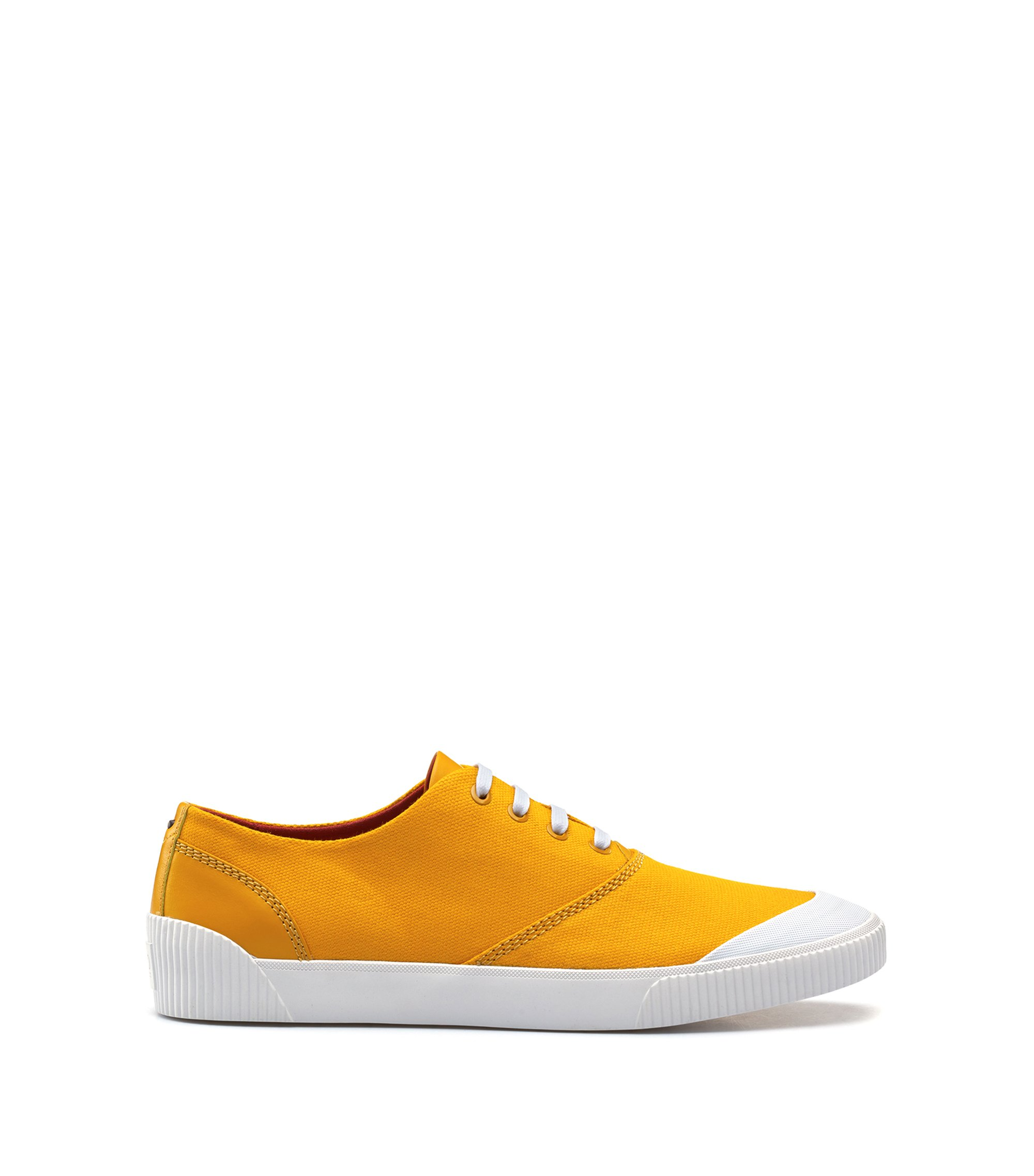 Lace-up tennis shoes in technical fabric, Yellow