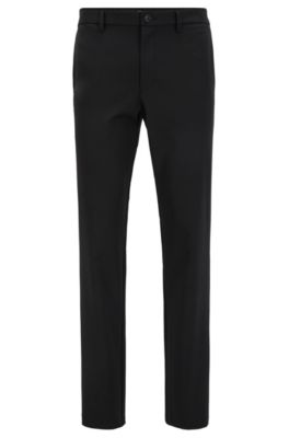 Slim-fit water-repellent trousers in four-way stretch fabric, Black