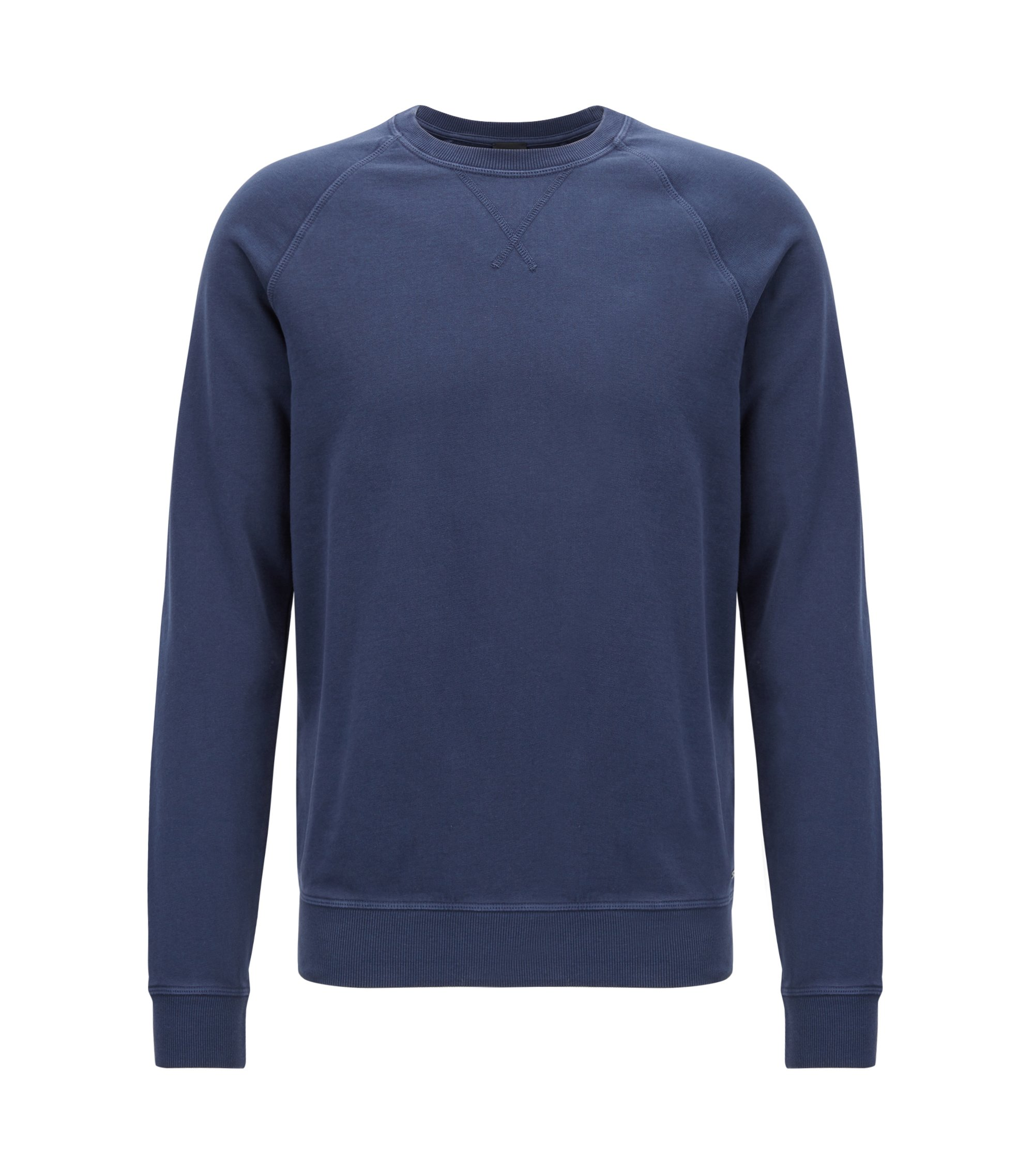 Sweatshirt met ronde hals van katoenen single jersey, Donkerblauw
