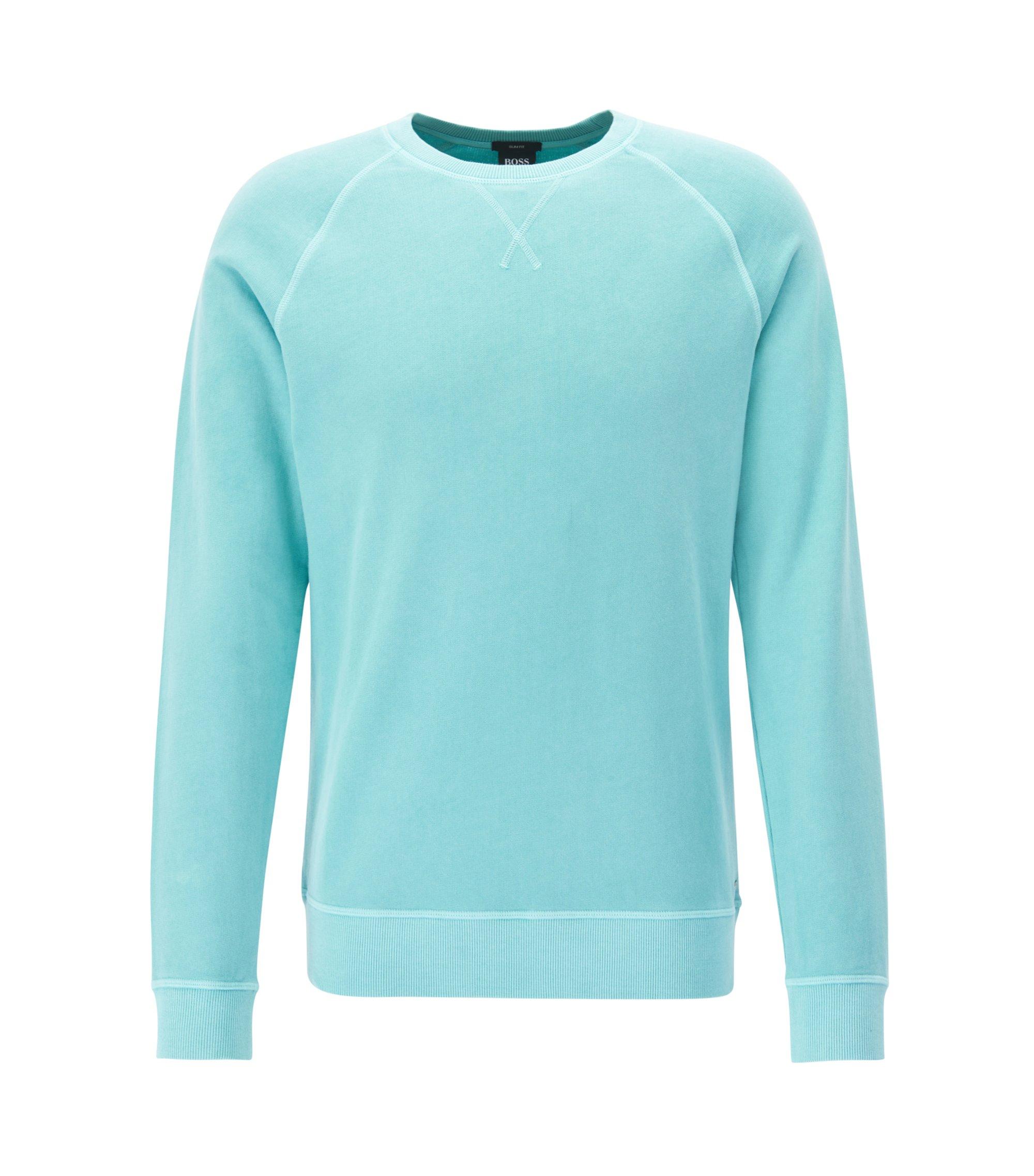 Crew-neck sweatshirt in cotton single jersey, Light Blue