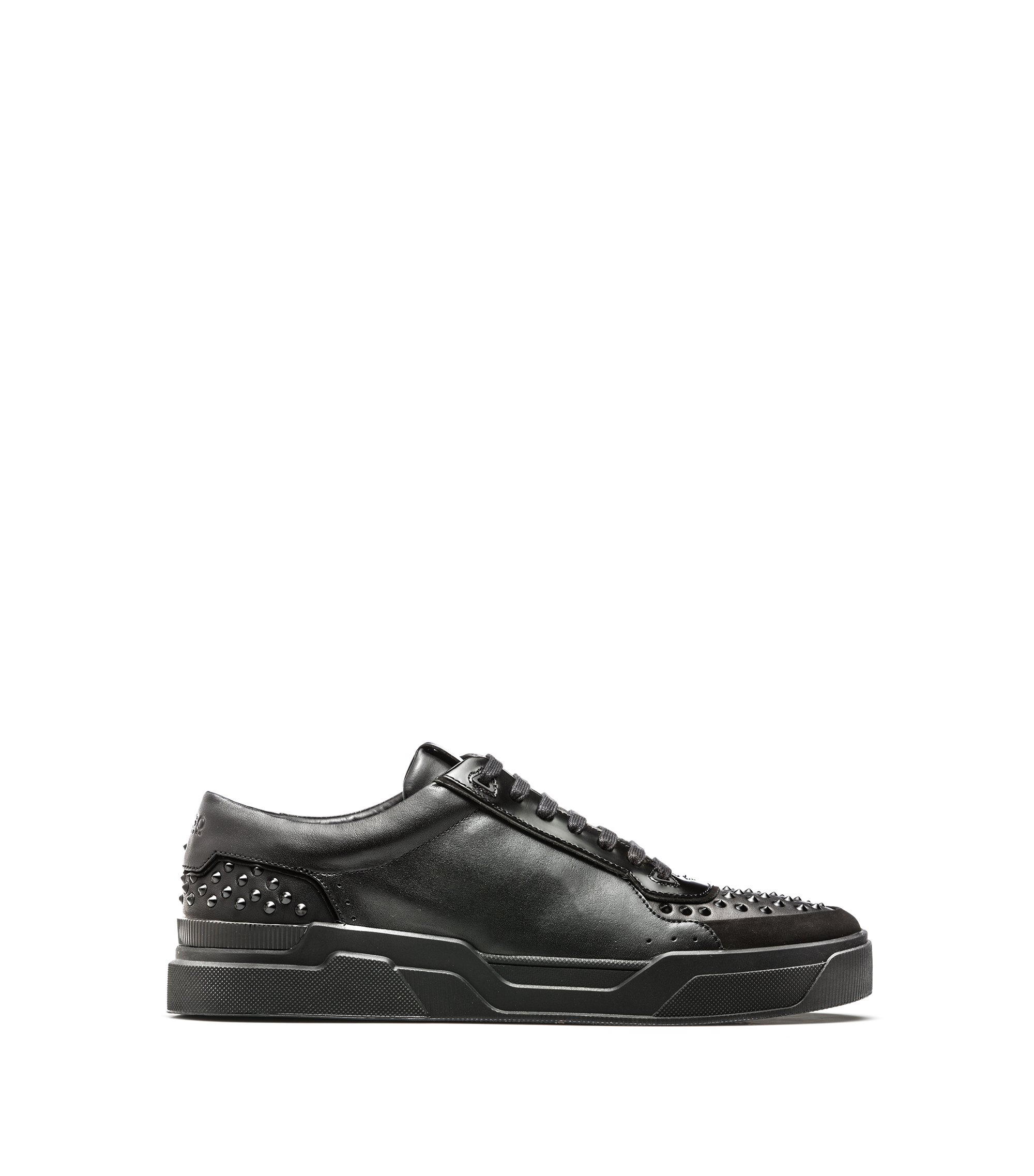 Sneakers in pelle di vitello con borchie decorative, Nero