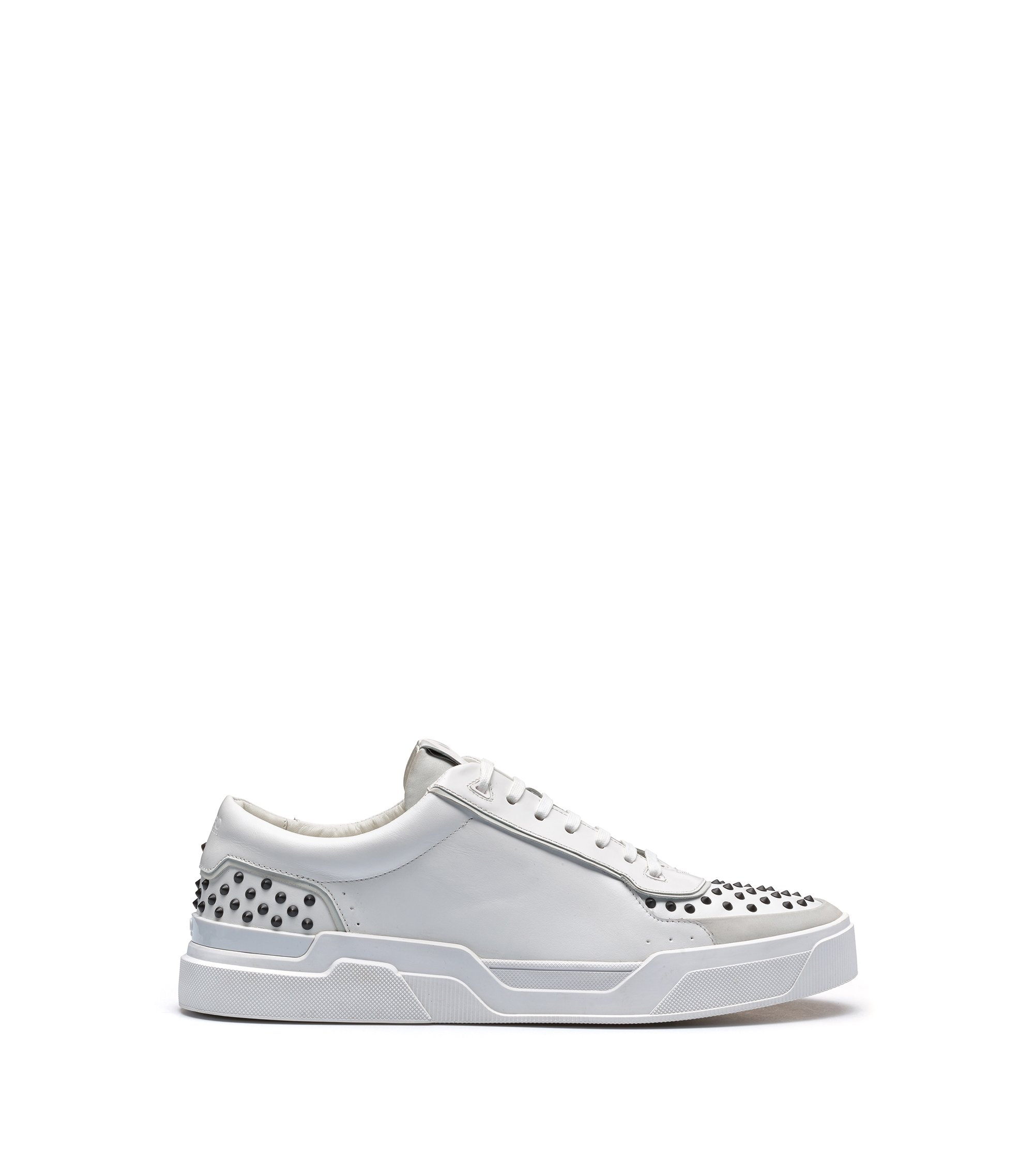 Sneakers in pelle di vitello con borchie decorative, Bianco