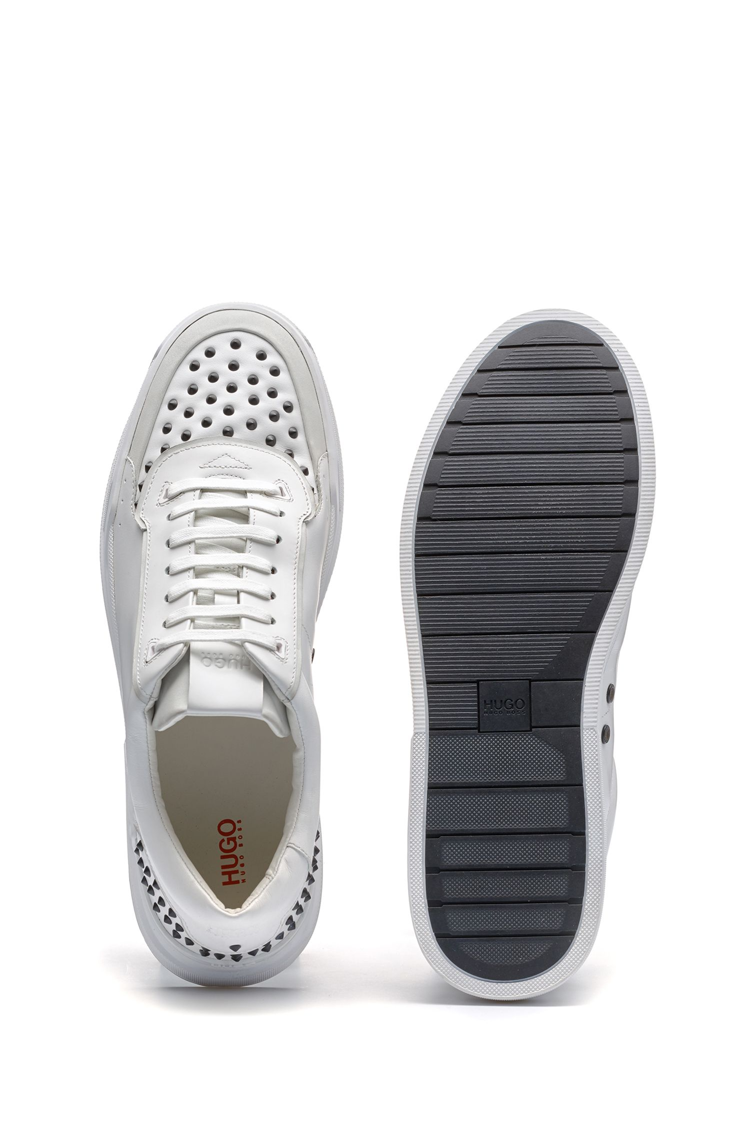 Calf-leather trainers with stud embellishment