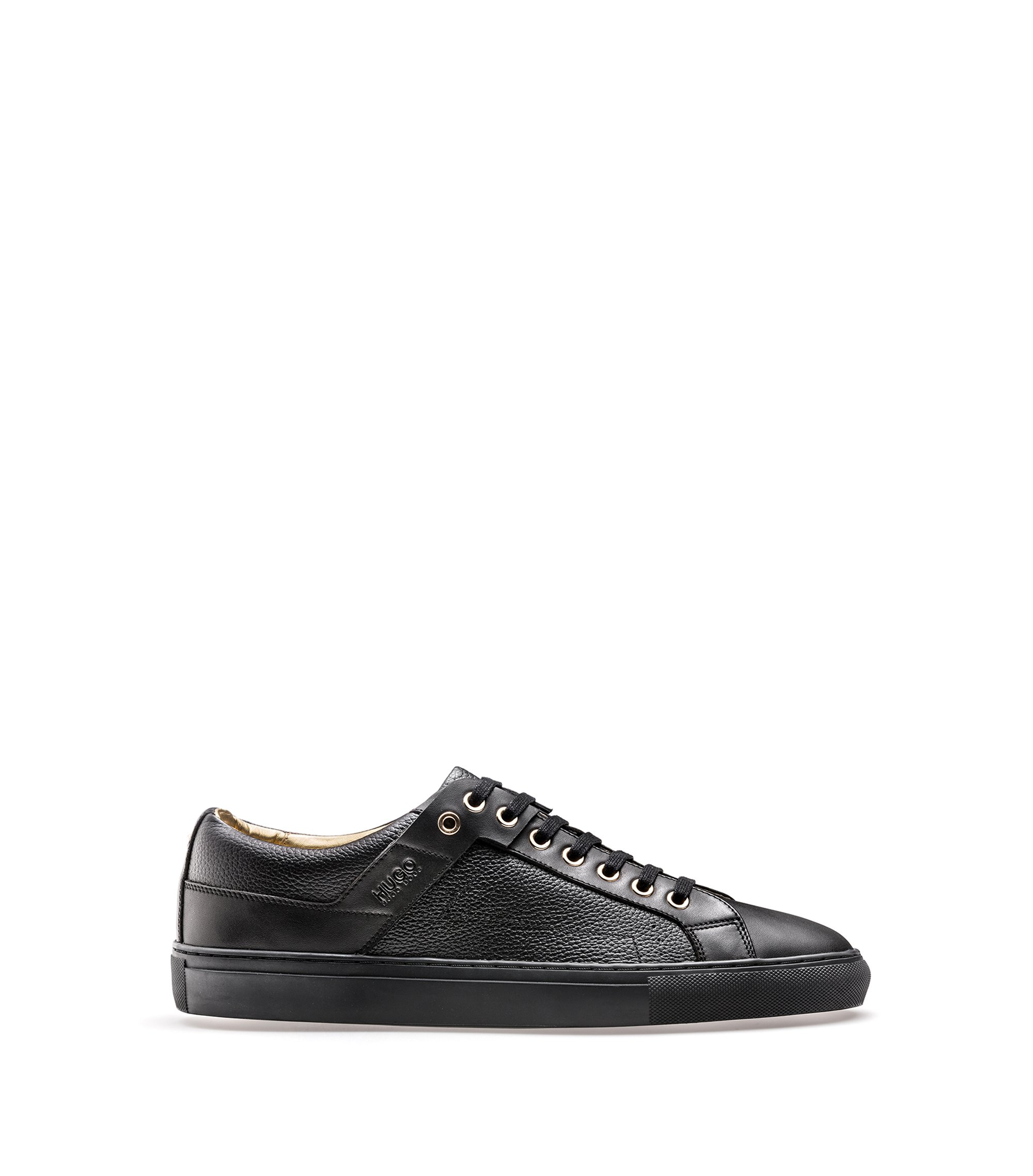 Trainers in tumbled and smooth leather, Black