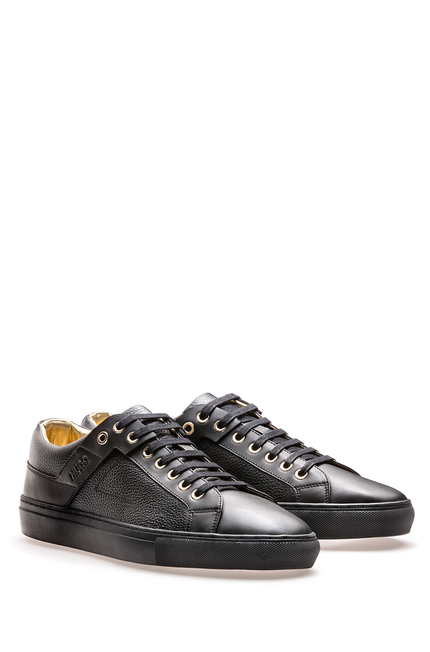 Sneakers aus gewalktem und glattem Leder