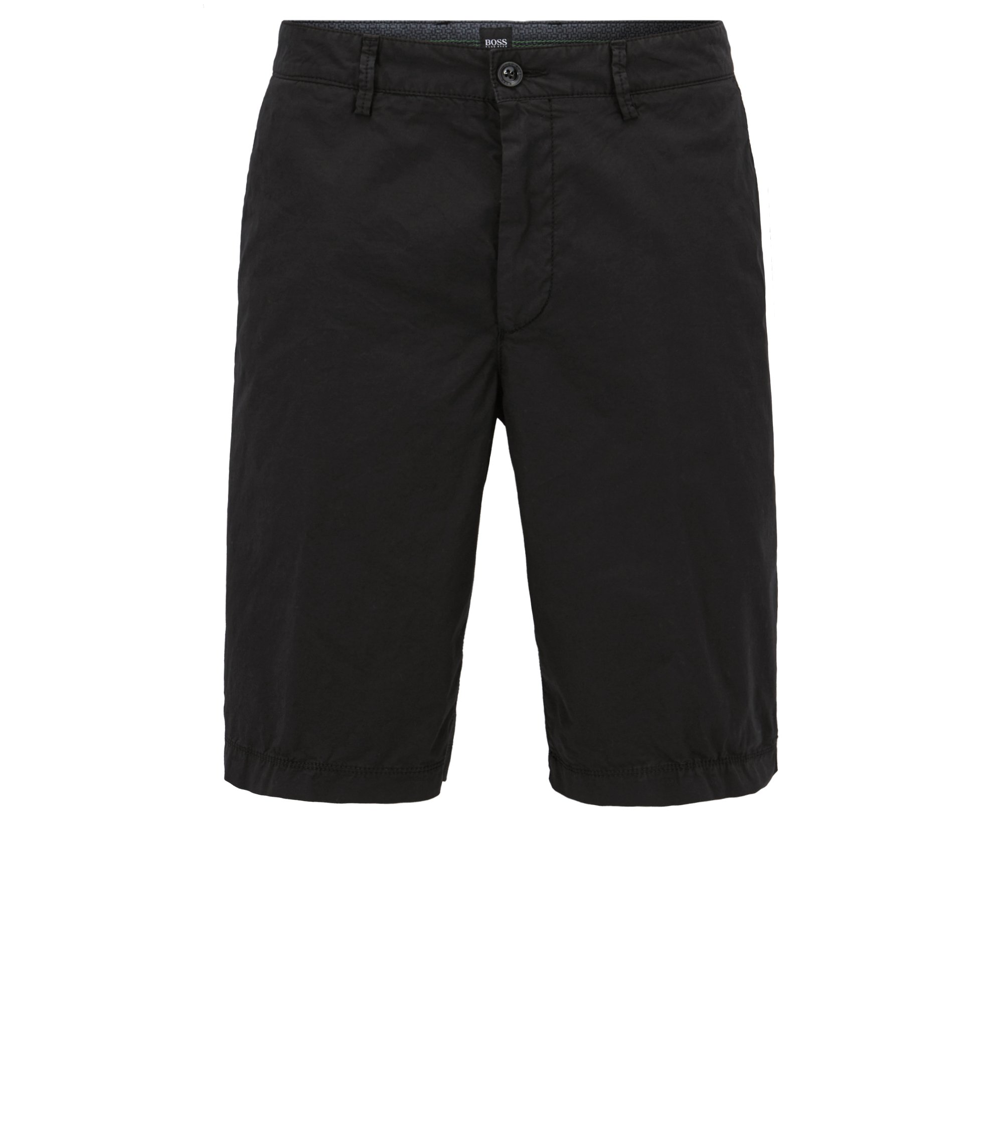 Regular-Fit Shorts aus leichter Stretch-Baumwolle, Schwarz