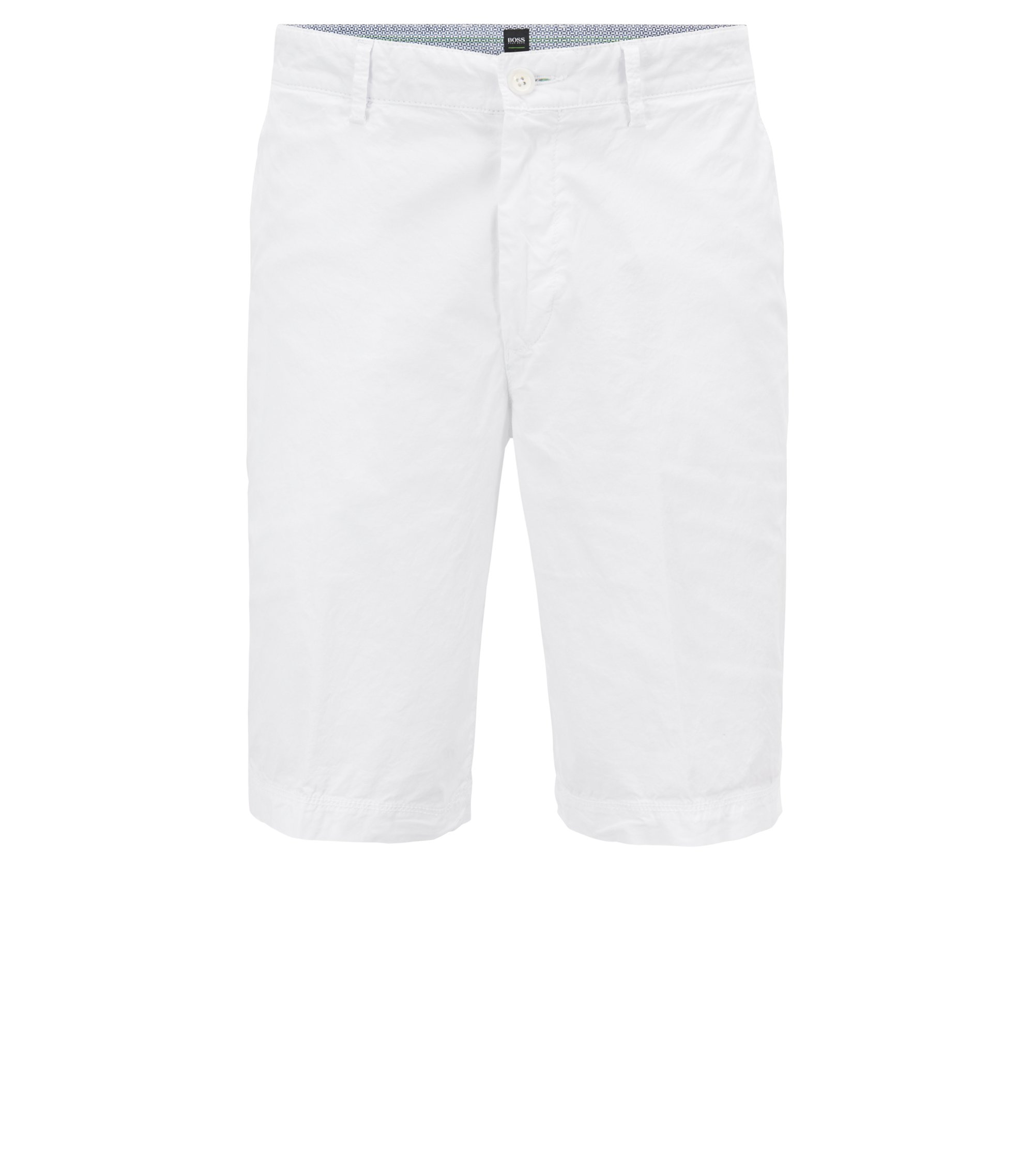 Short Regular Fit en coton stretch léger, Blanc