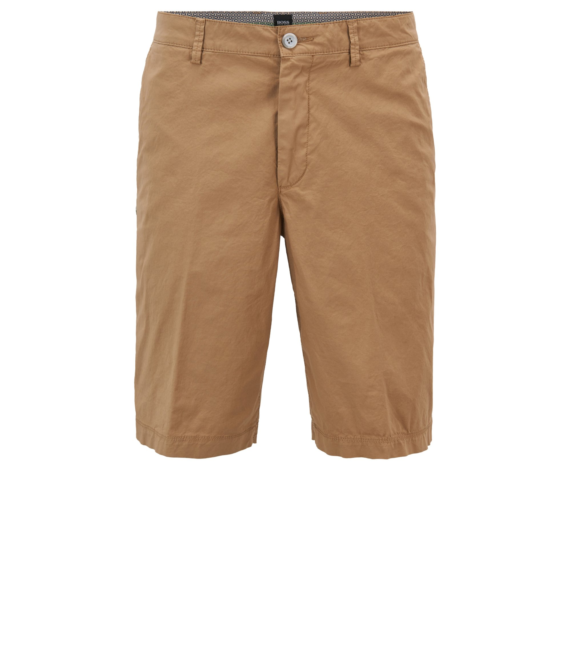 Short Regular Fit en coton stretch léger, Marron