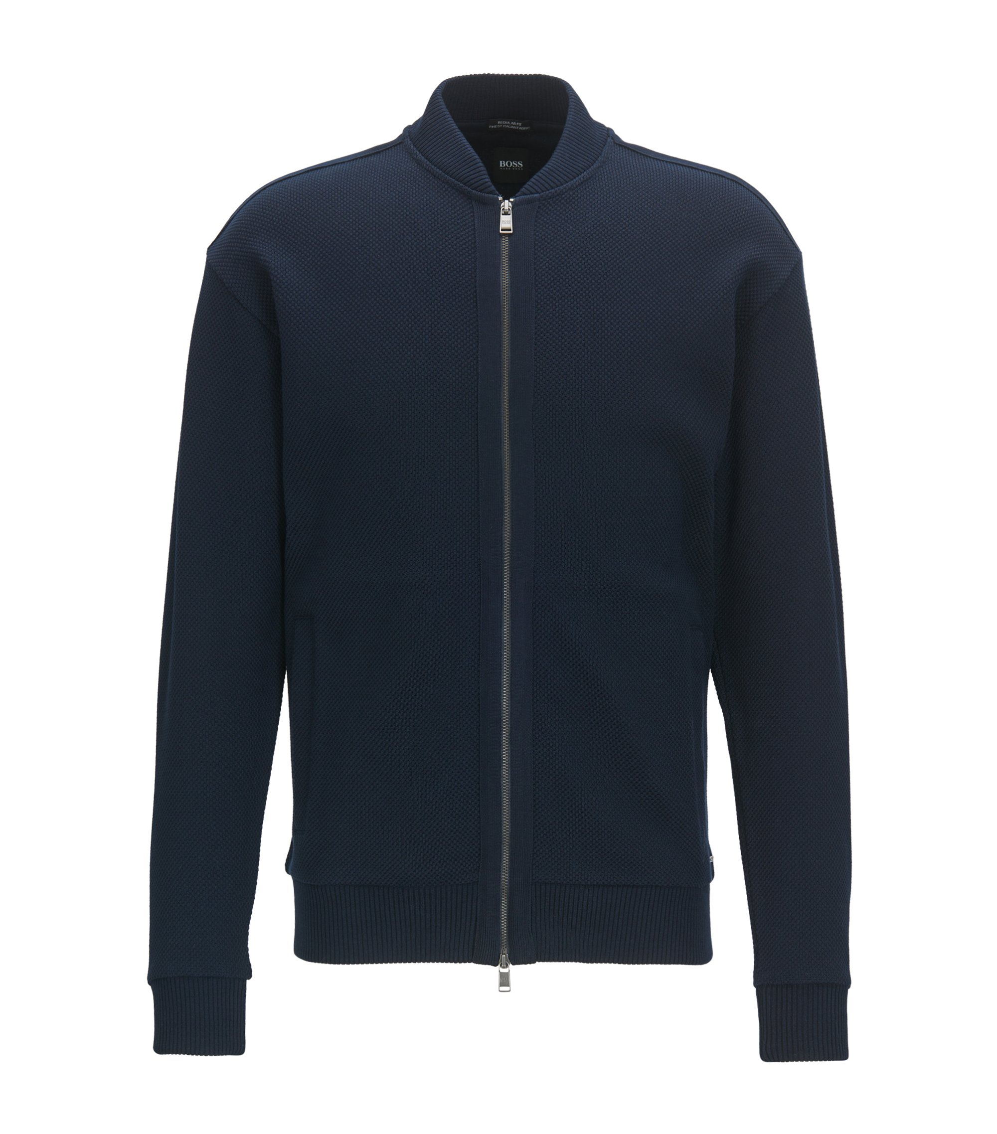 Zip-through sweatshirt in fine Italian cotton, Dark Blue