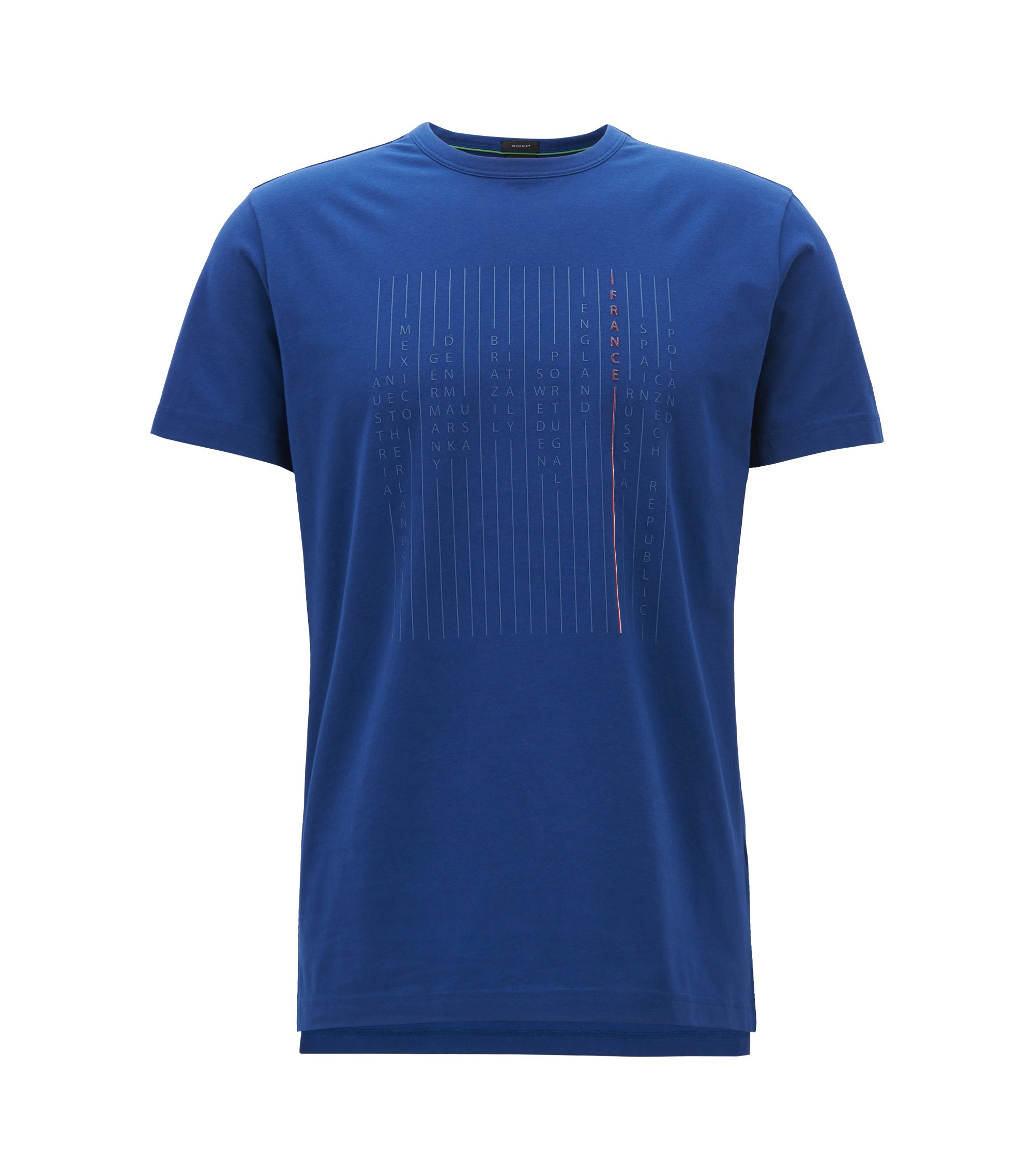 T-Shirt aus Stretch-Baumwolle mit Nationalteam-Print, Blau