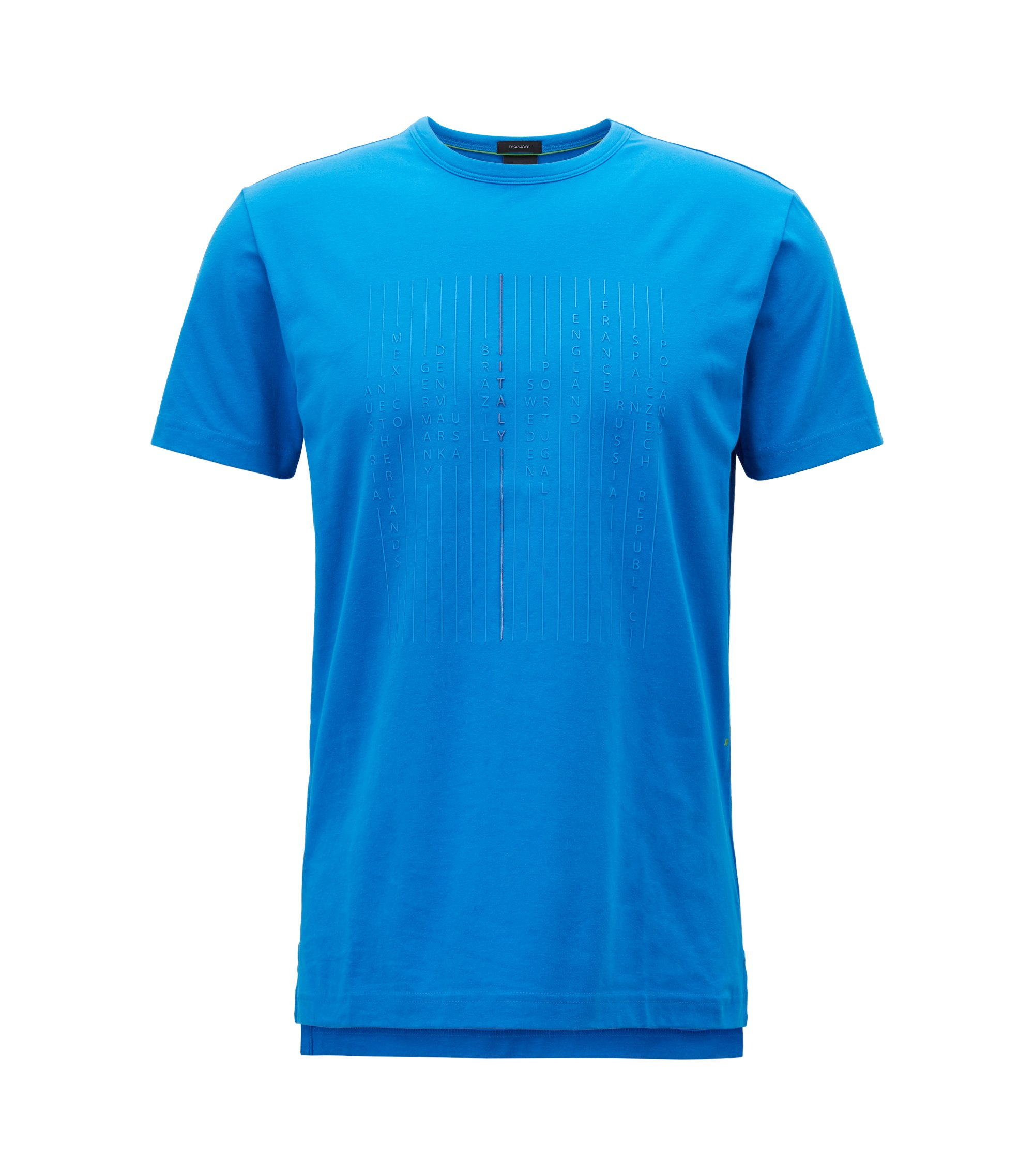 Stretch cotton T-shirt with national team print, Blue