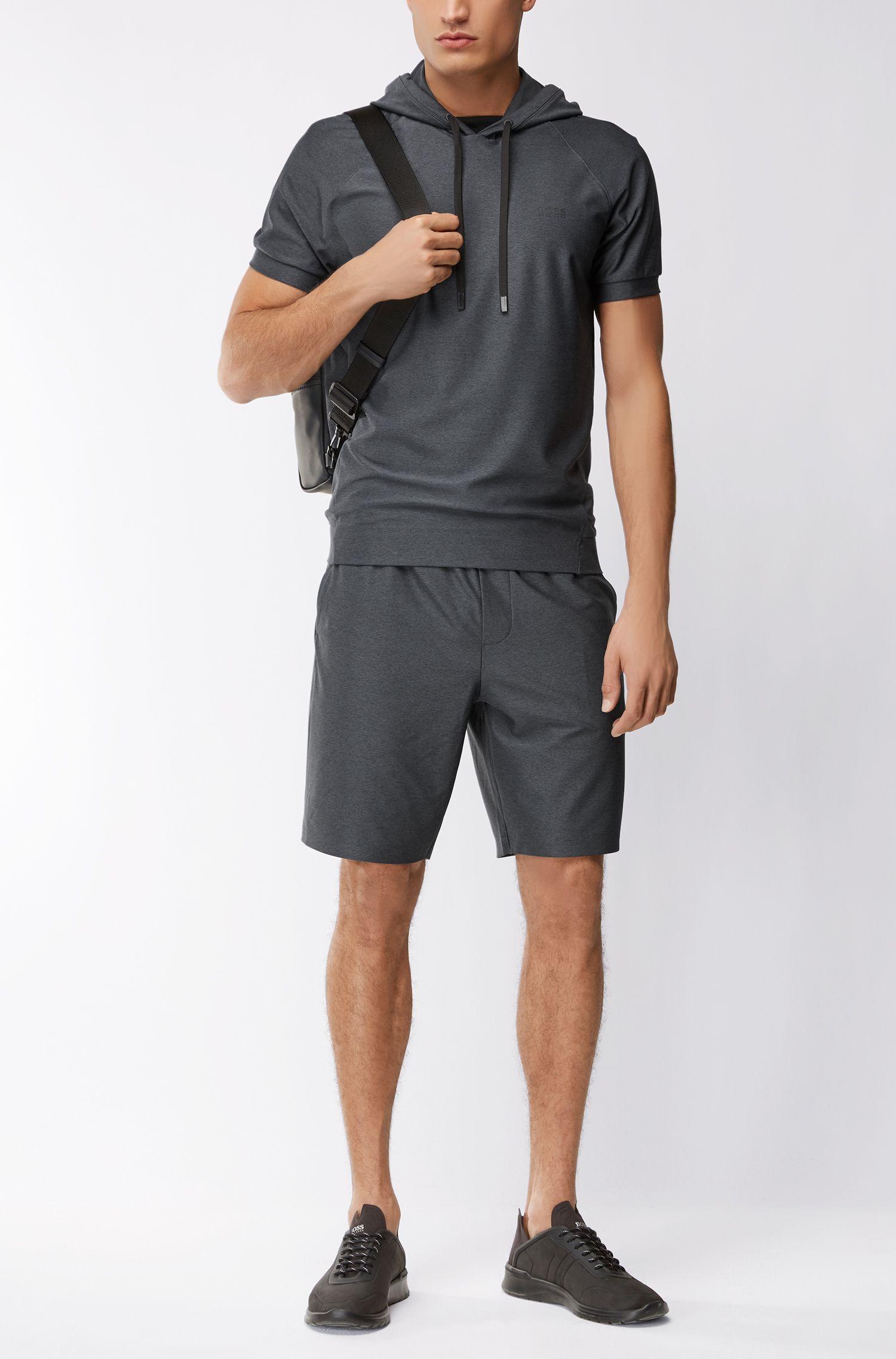 Jersey de manga corta con capucha y jaspeado elástico activo