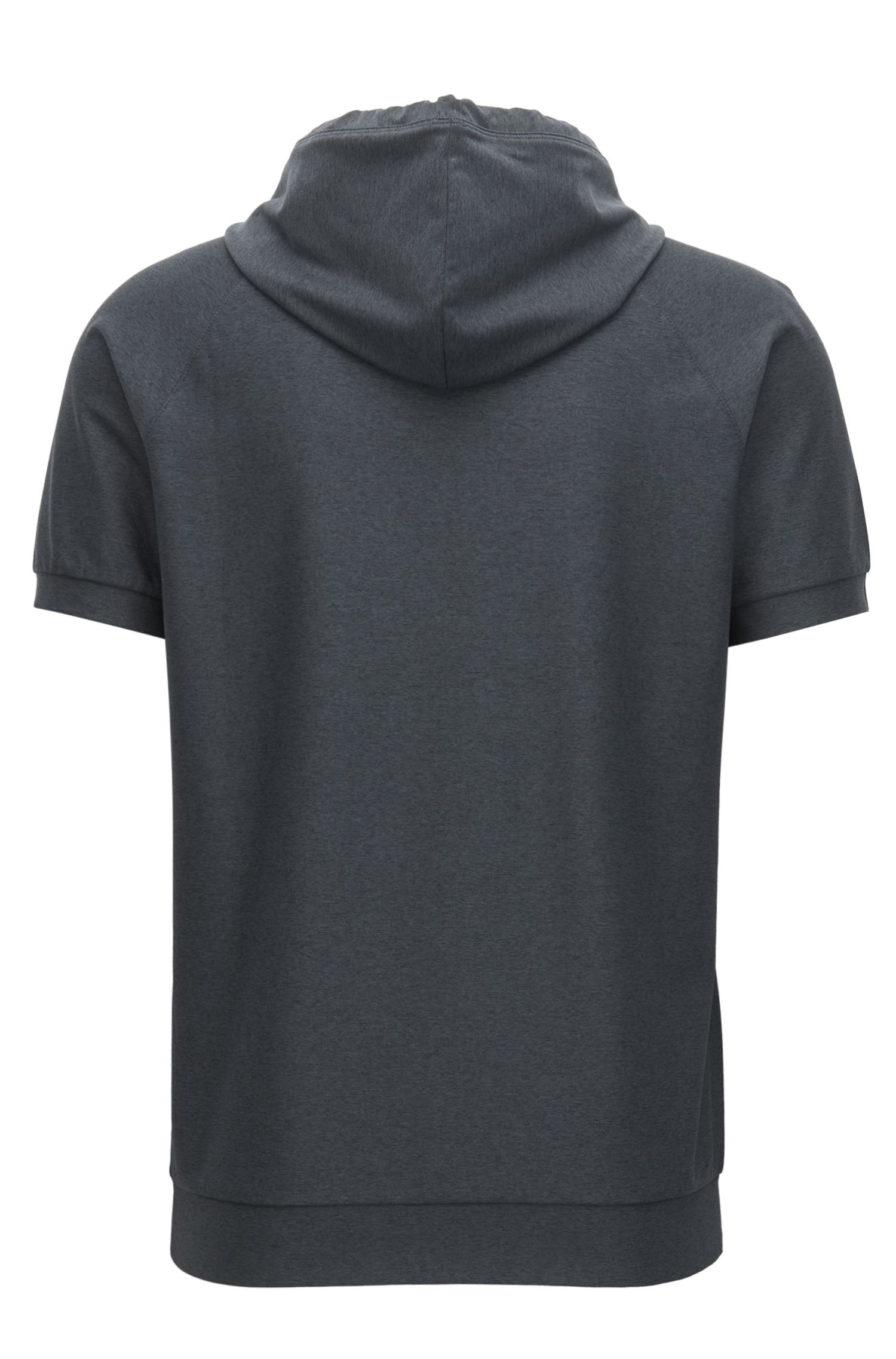 Short-sleeved hooded sweater in active-stretch mélange