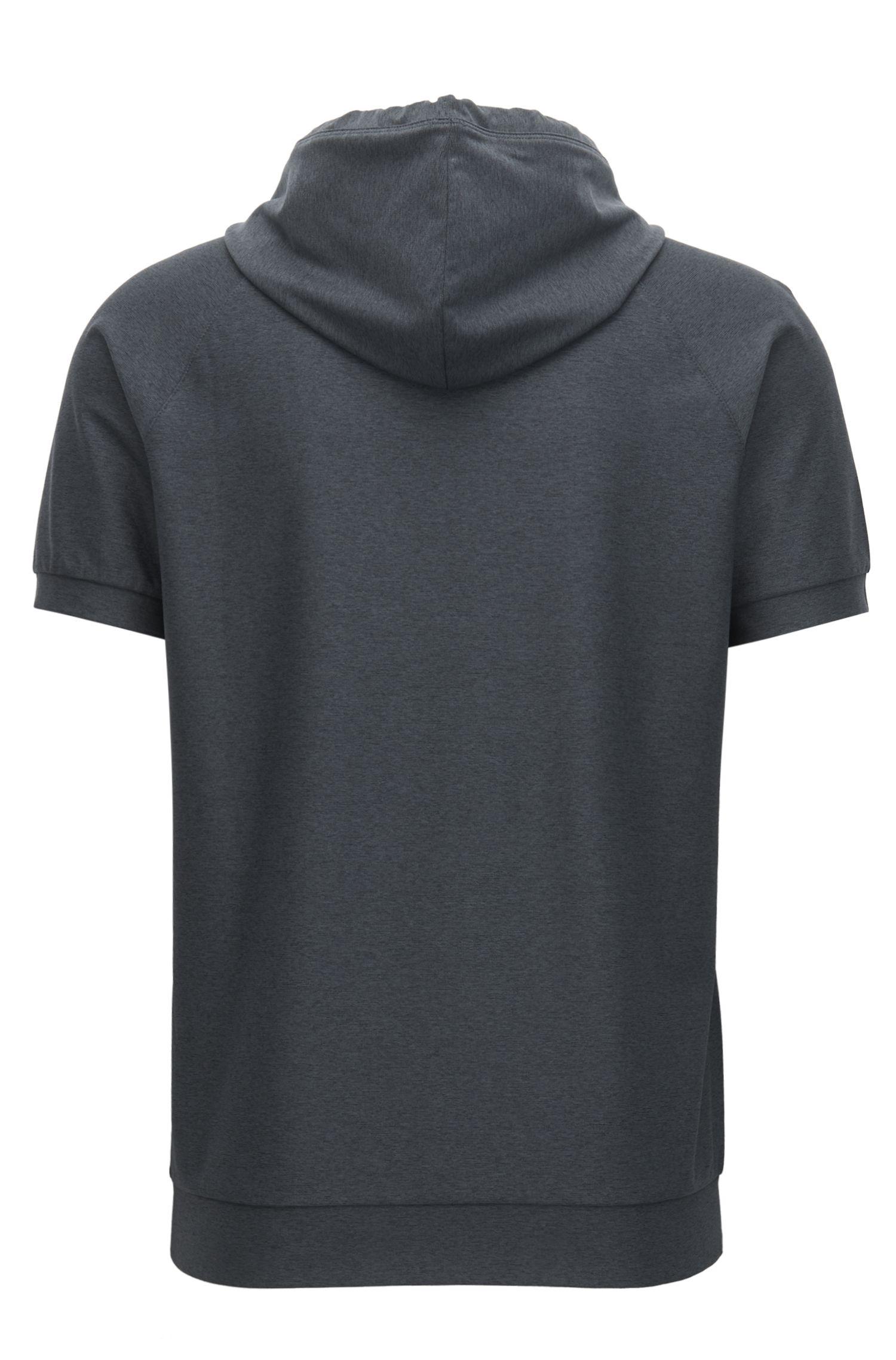 Kapuzen-Pullover aus Material-Mix mit kurzen Ärmeln