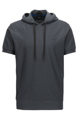 Short-sleeved hooded sweater in active-stretch mélange, Black